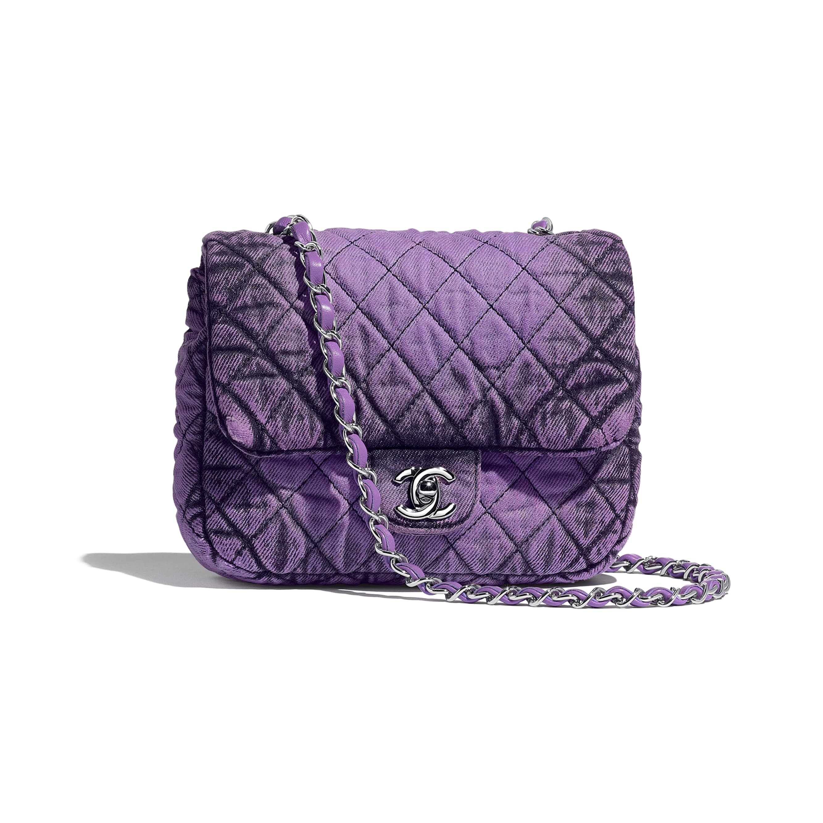 Small Flap Bag - Purple & Black - Denim & Silver-Tone Metal - Default view - see standard sized version
