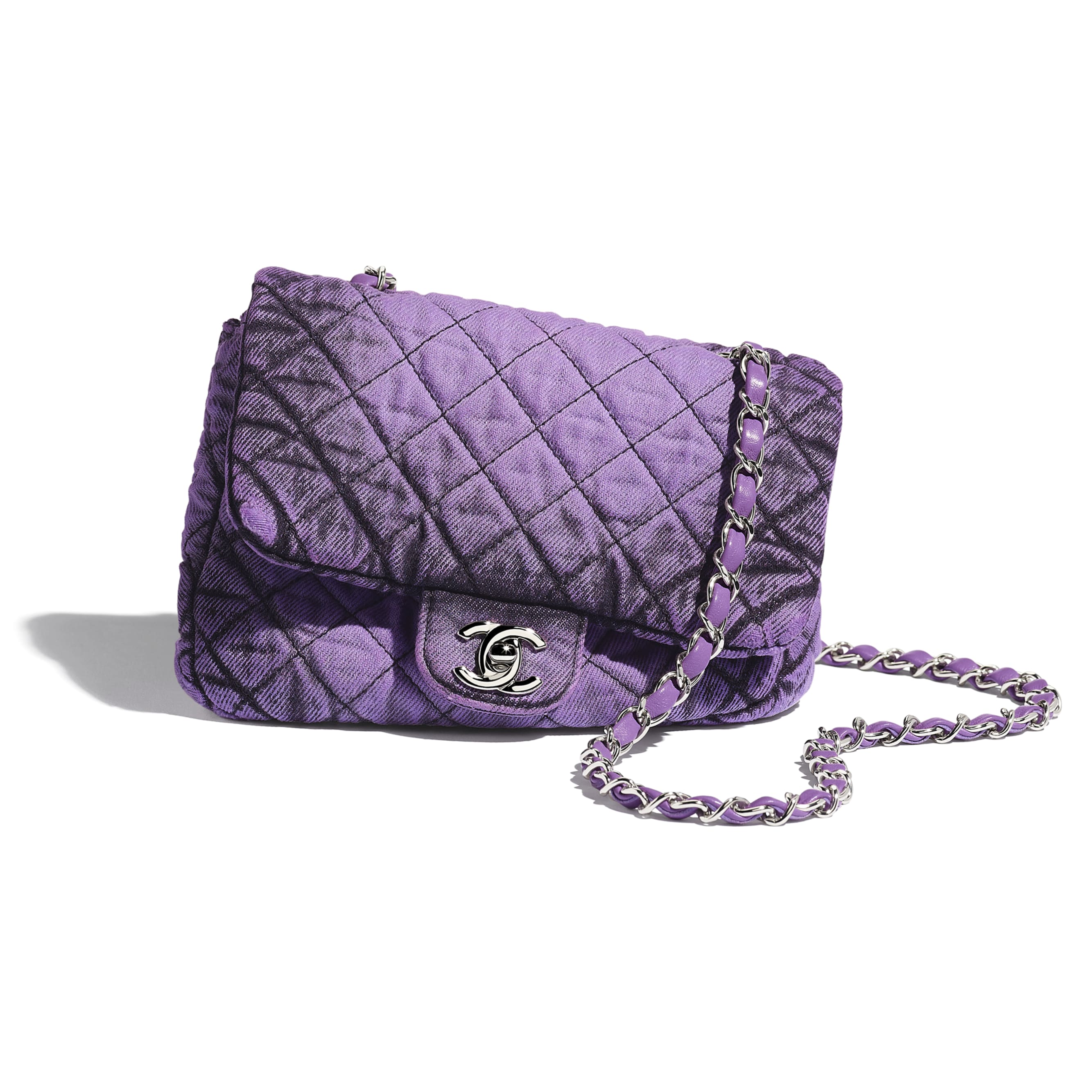 Small Flap Bag - Purple & Black - Denim & Silver-Tone Metal - Extra view - see standard sized version