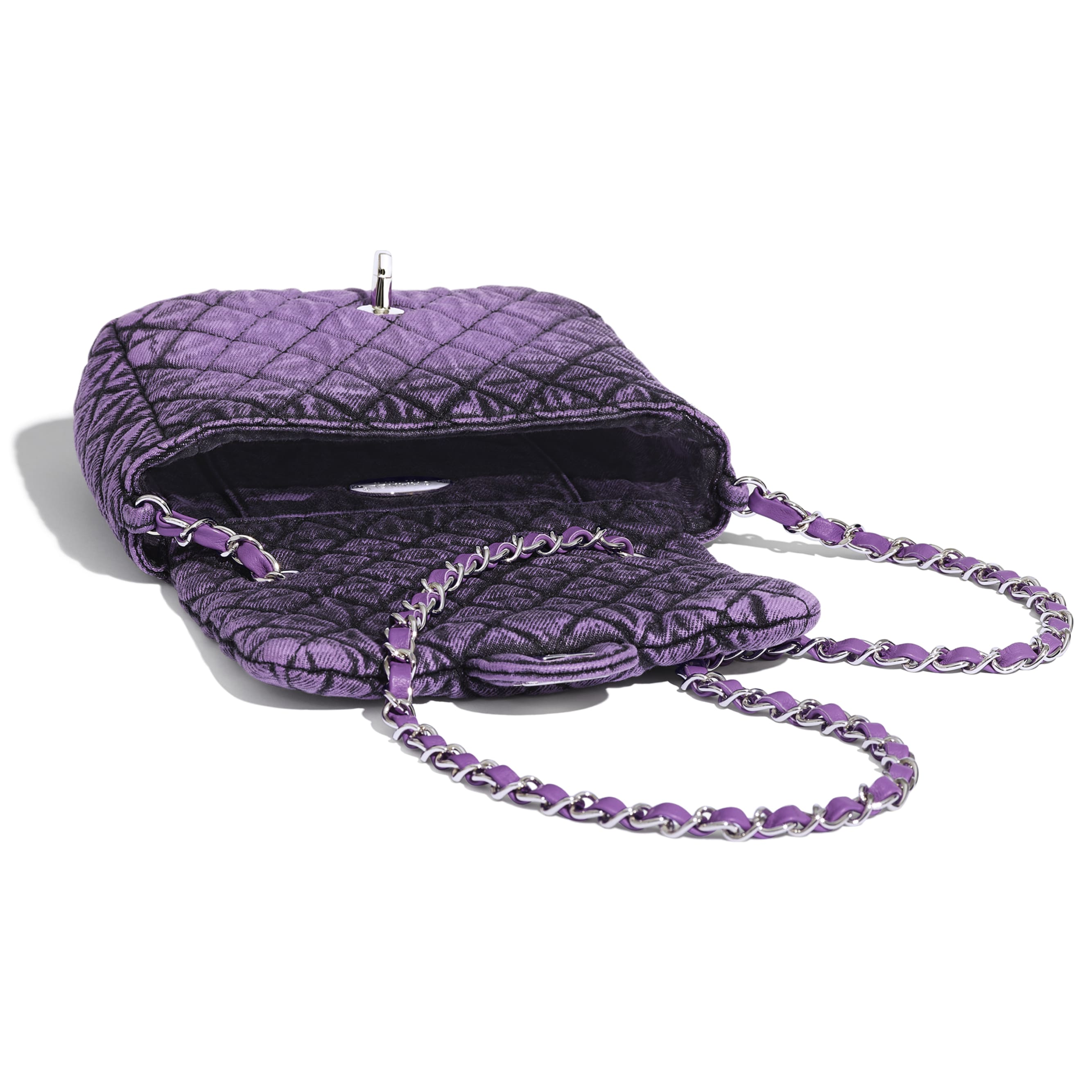 Small Flap Bag - Purple & Black - Denim & Silver-Tone Metal - Other view - see standard sized version