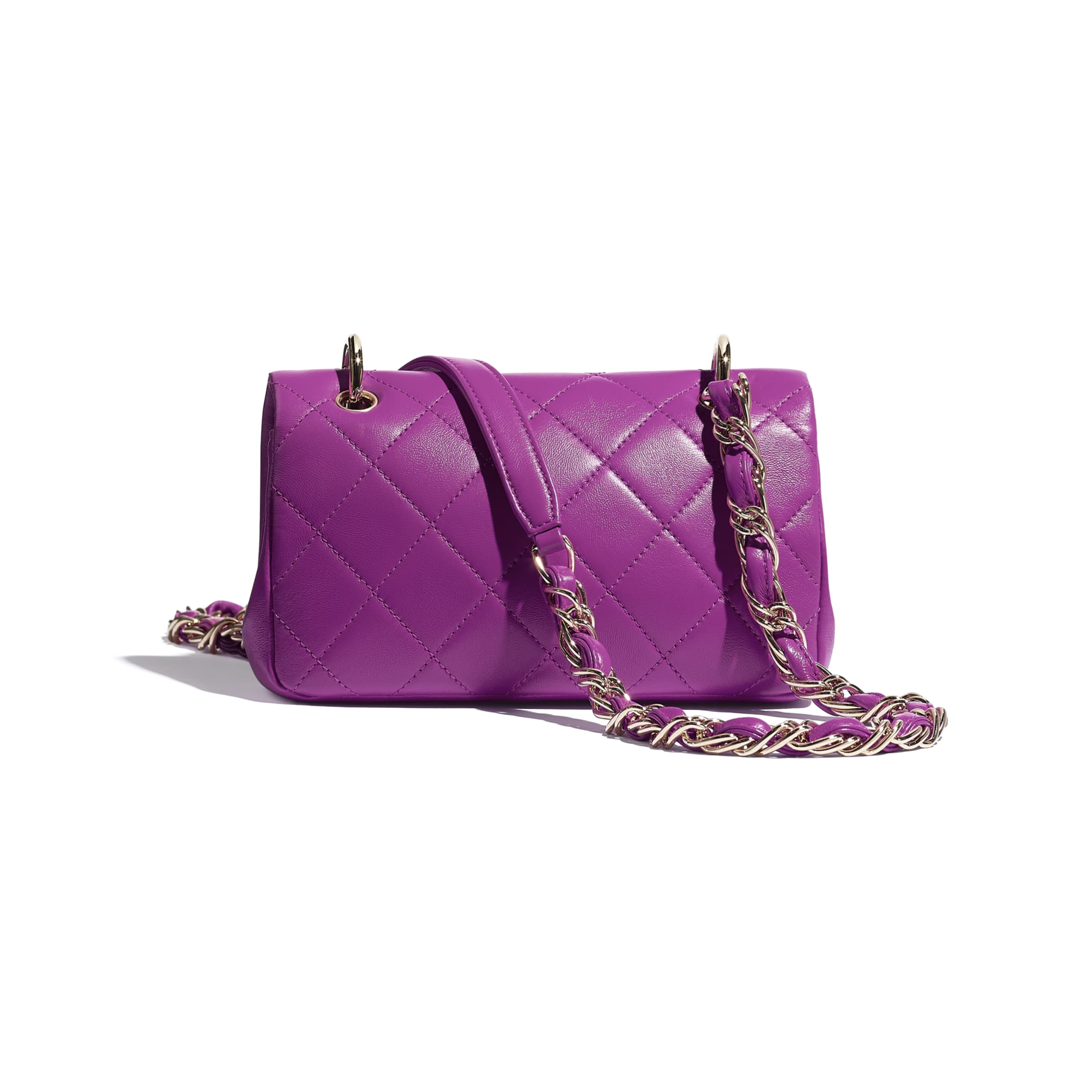 Small Flap Bag - Purple - Lambskin - CHANEL - Alternative view - see standard sized version