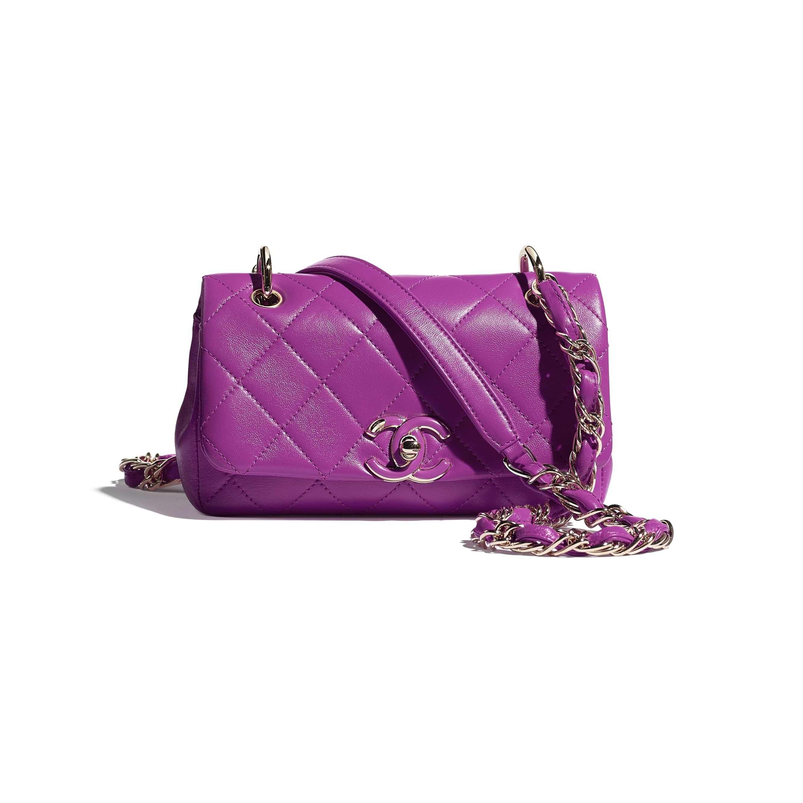 Small Flap Bag - Purple - Lambskin - CHANEL - Default view - see standard sized version