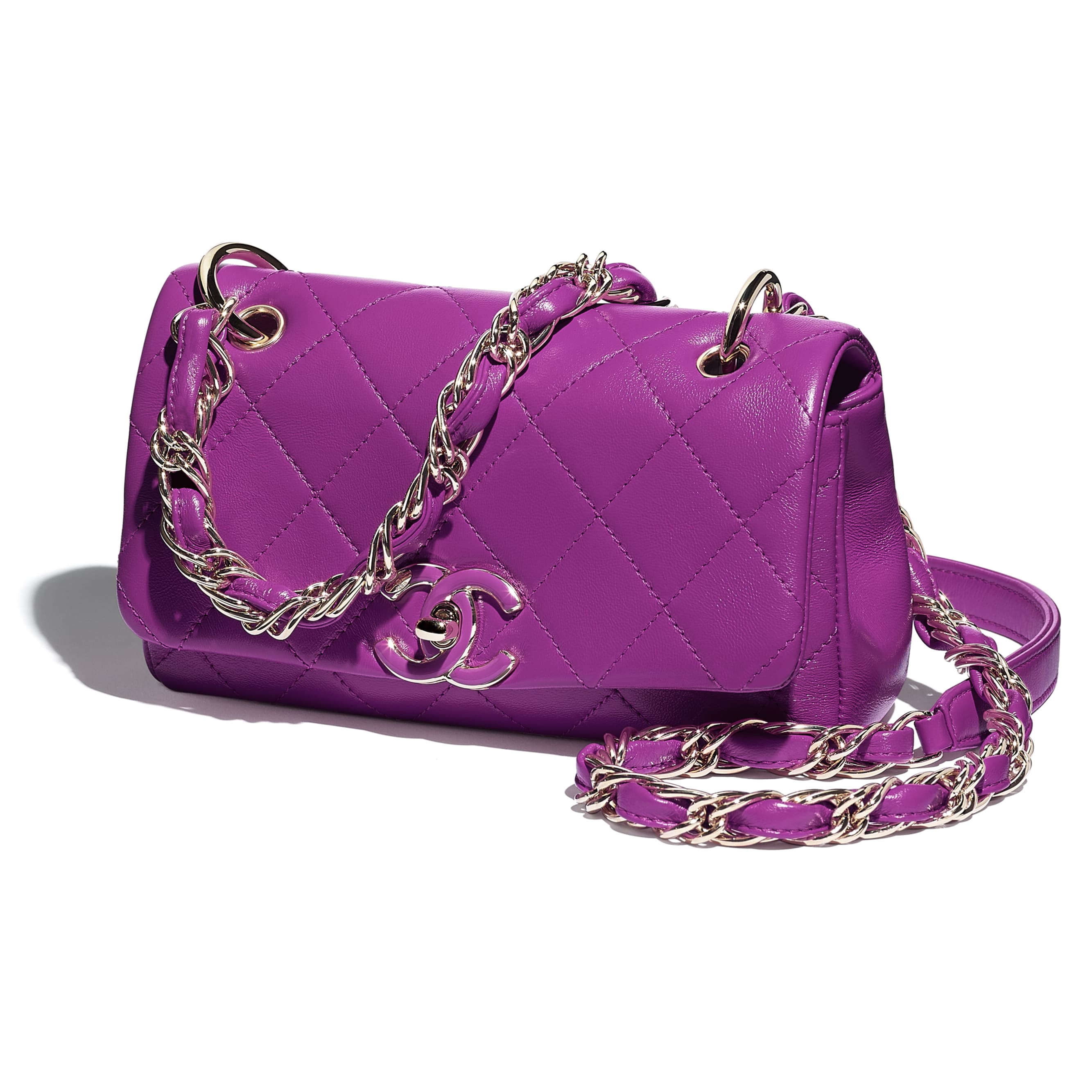 Small Flap Bag - Purple - Lambskin - CHANEL - Extra view - see standard sized version