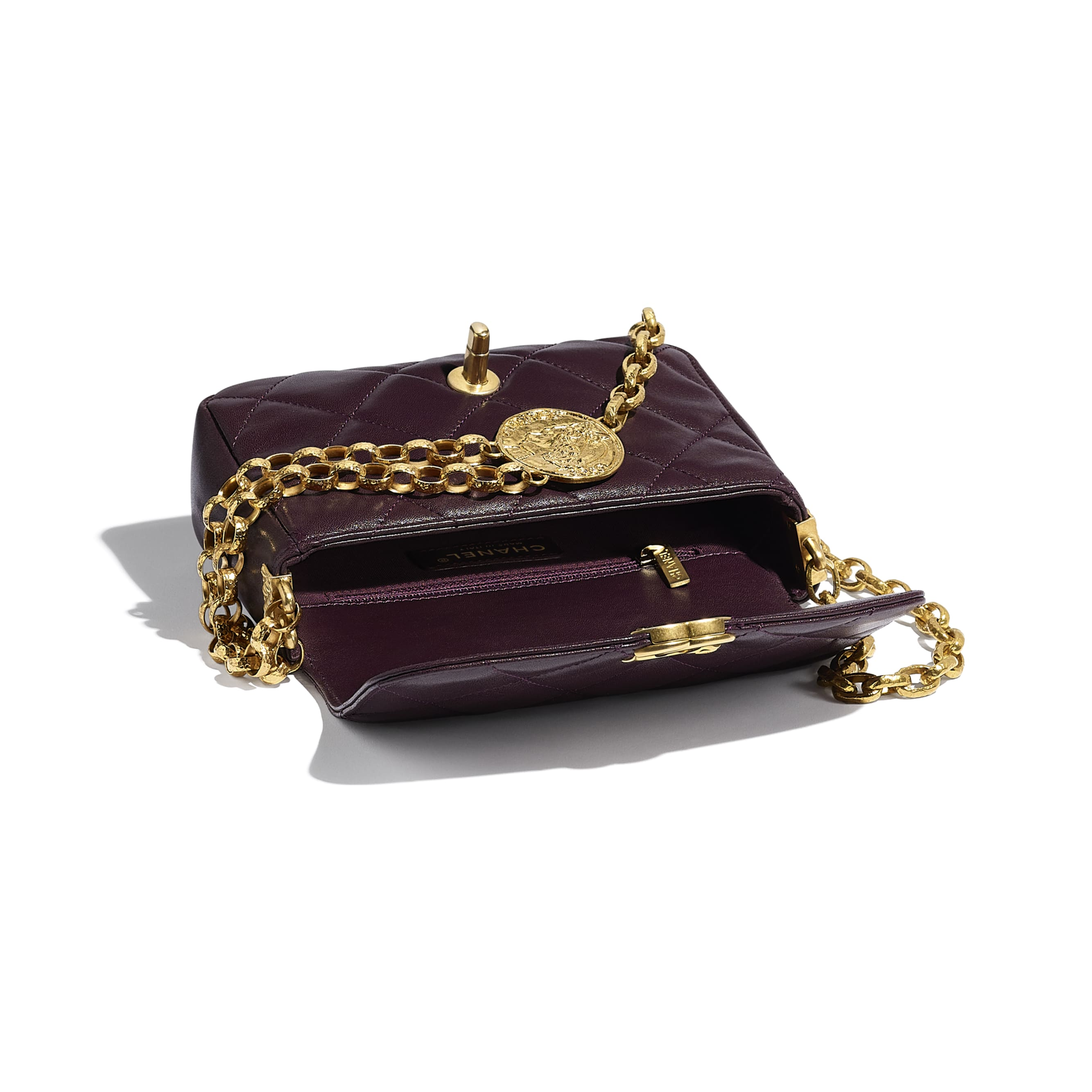 Small Flap Bag - Purple - Lambskin - CHANEL - Other view - see standard sized version
