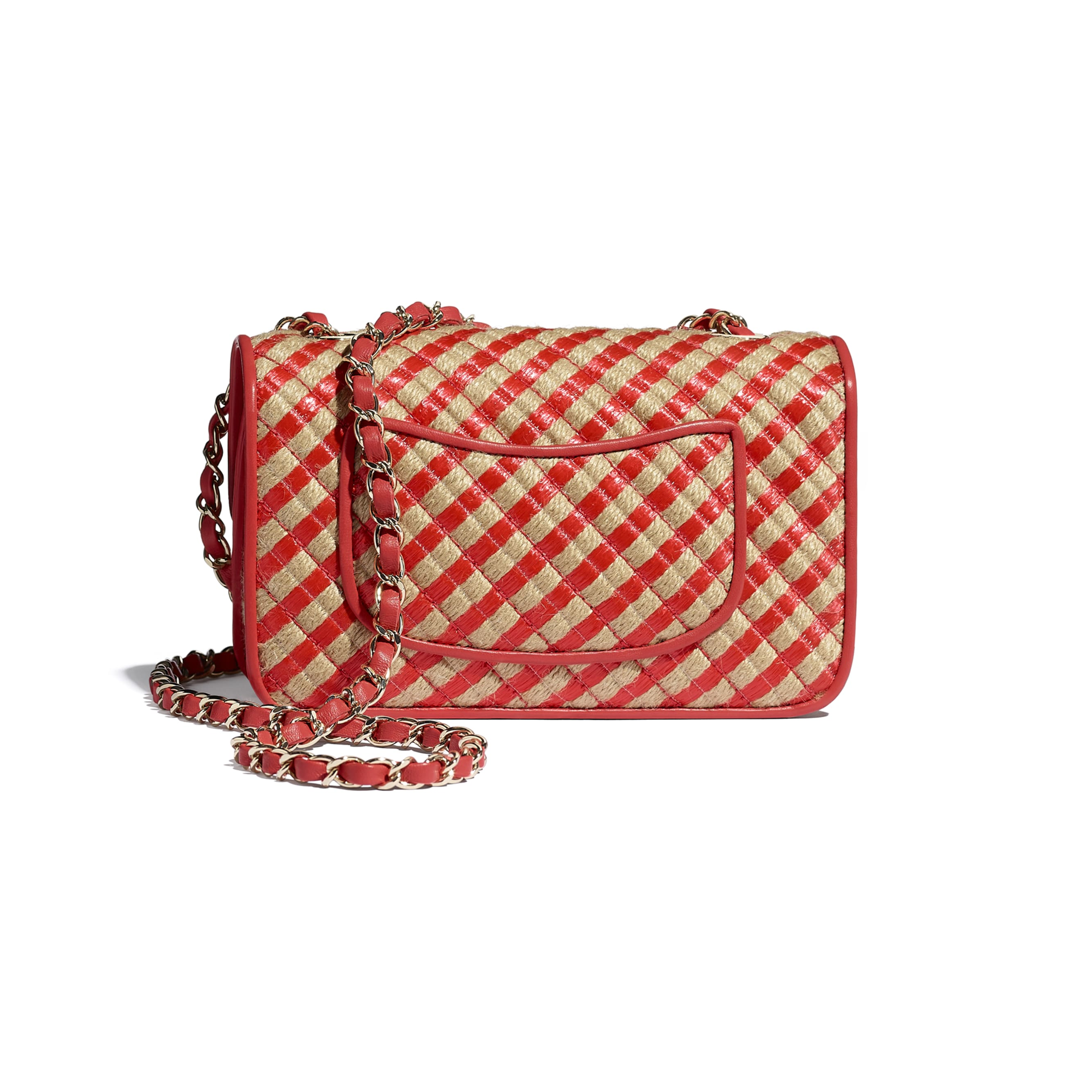 Small Flap Bag - Red & Beige - Raffia, Jute Thread & Gold-Tone Metal - CHANEL - Alternative view - see standard sized version