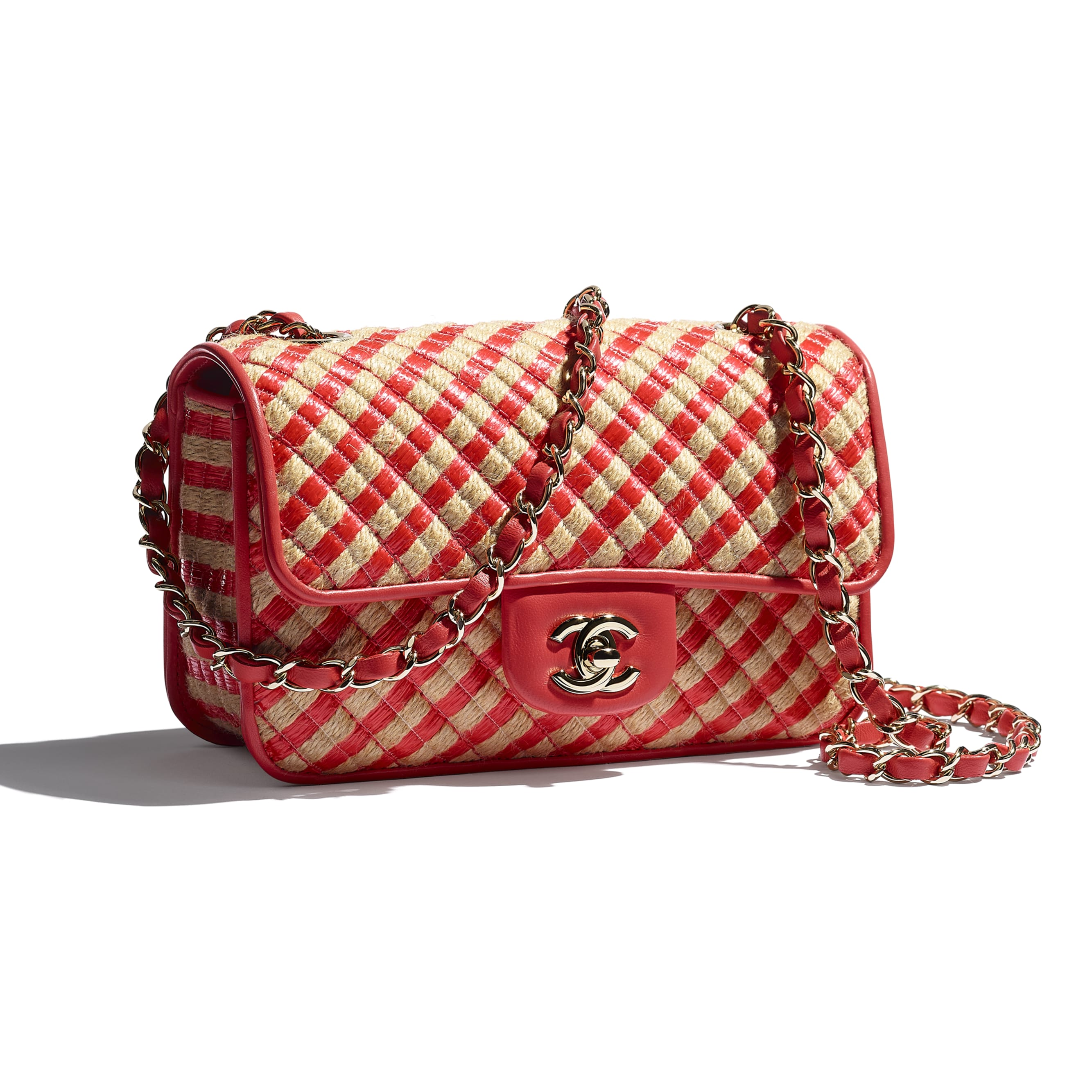 Small Flap Bag - Red & Beige - Raffia, Jute Thread & Gold-Tone Metal - CHANEL - Extra view - see standard sized version