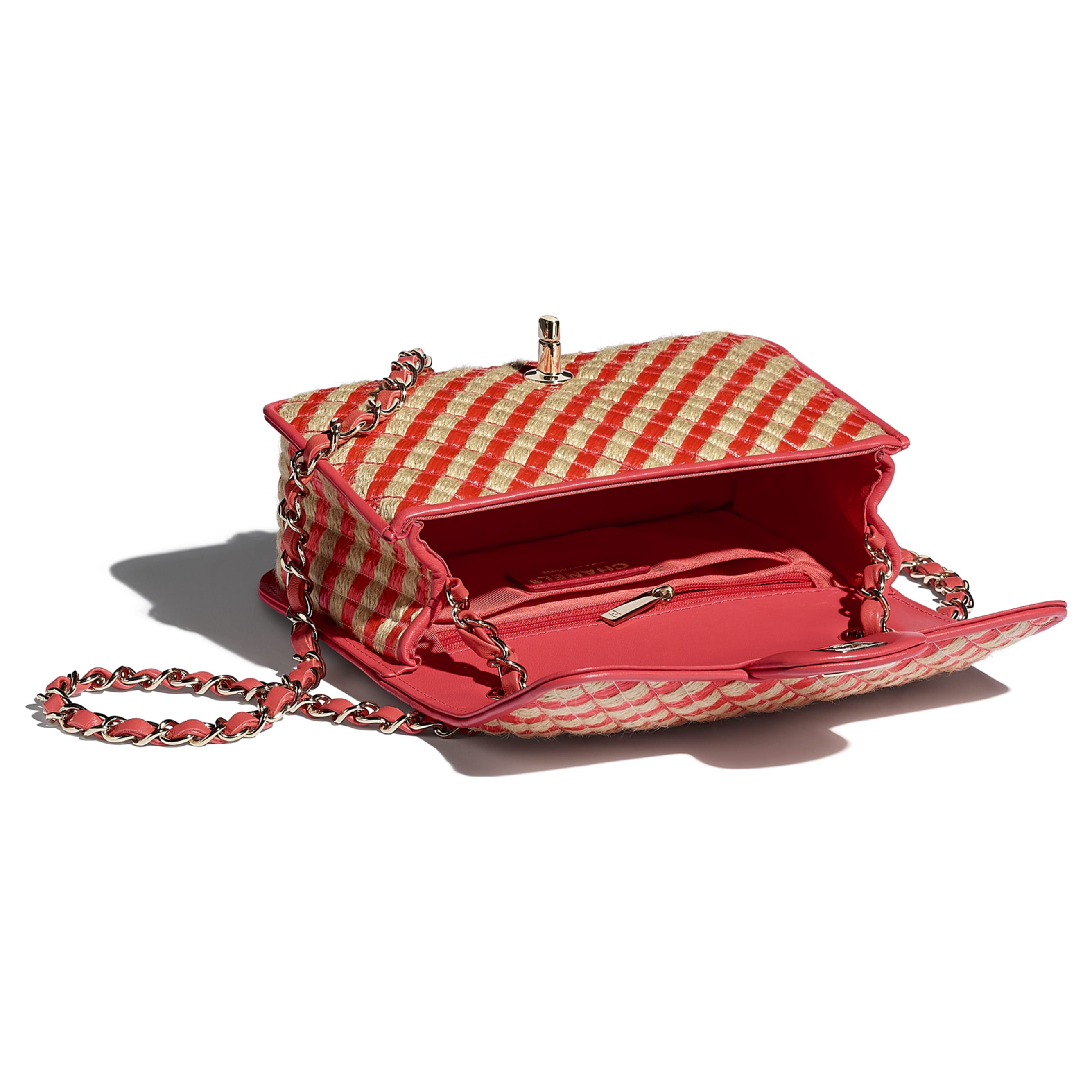 Small Flap Bag - Red & Beige - Raffia, Jute Thread & Gold-Tone Metal - CHANEL - Other view - see standard sized version