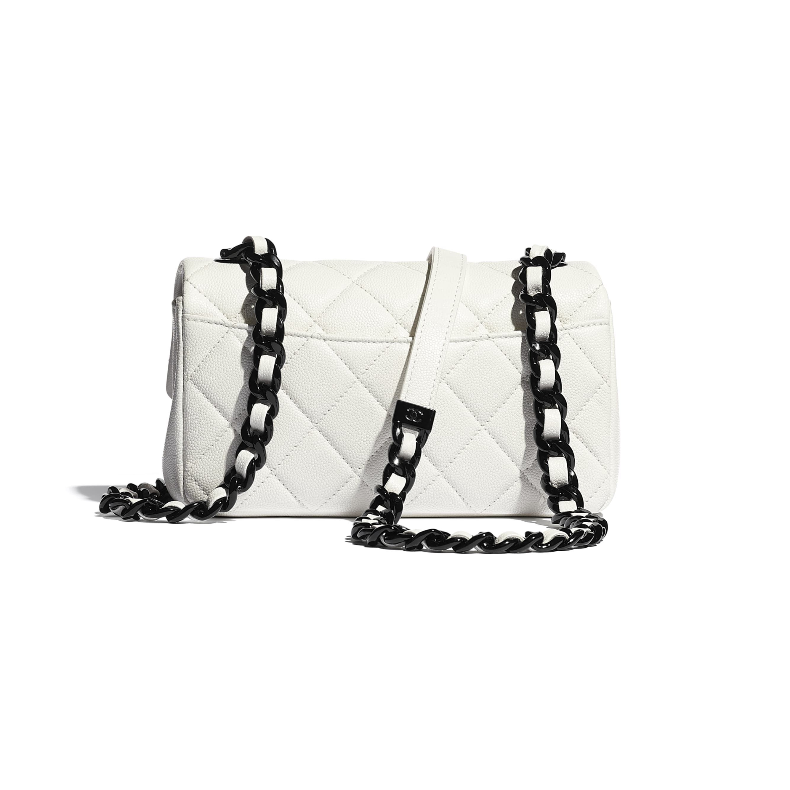 Small Flap Bag - White & Black - Grained Calfskin & Lacquered Metal - CHANEL - Alternative view - see standard sized version