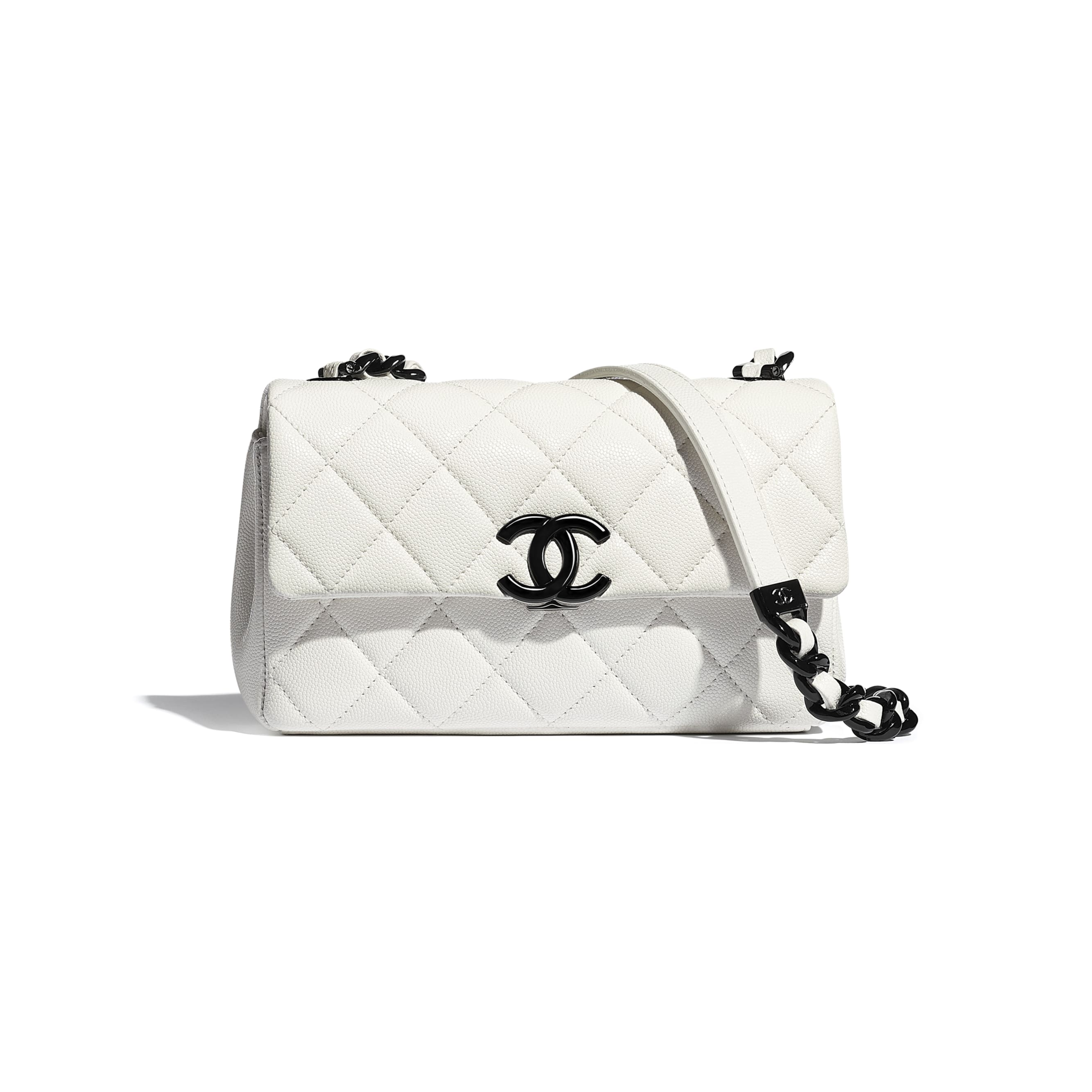 Small Flap Bag - White & Black - Grained Calfskin & Lacquered Metal - CHANEL - Default view - see standard sized version