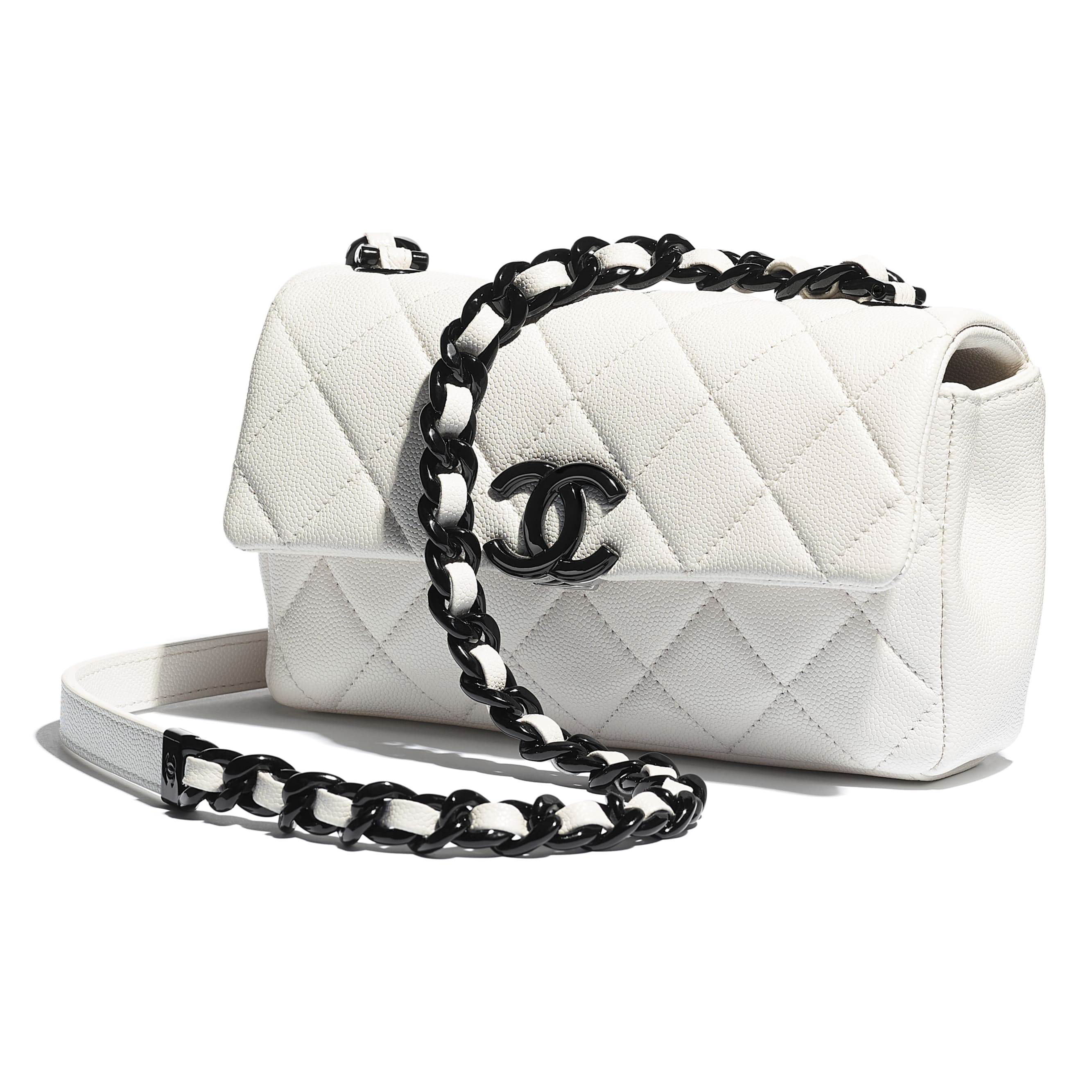 Small Flap Bag - White & Black - Grained Calfskin & Lacquered Metal - CHANEL - Extra view - see standard sized version