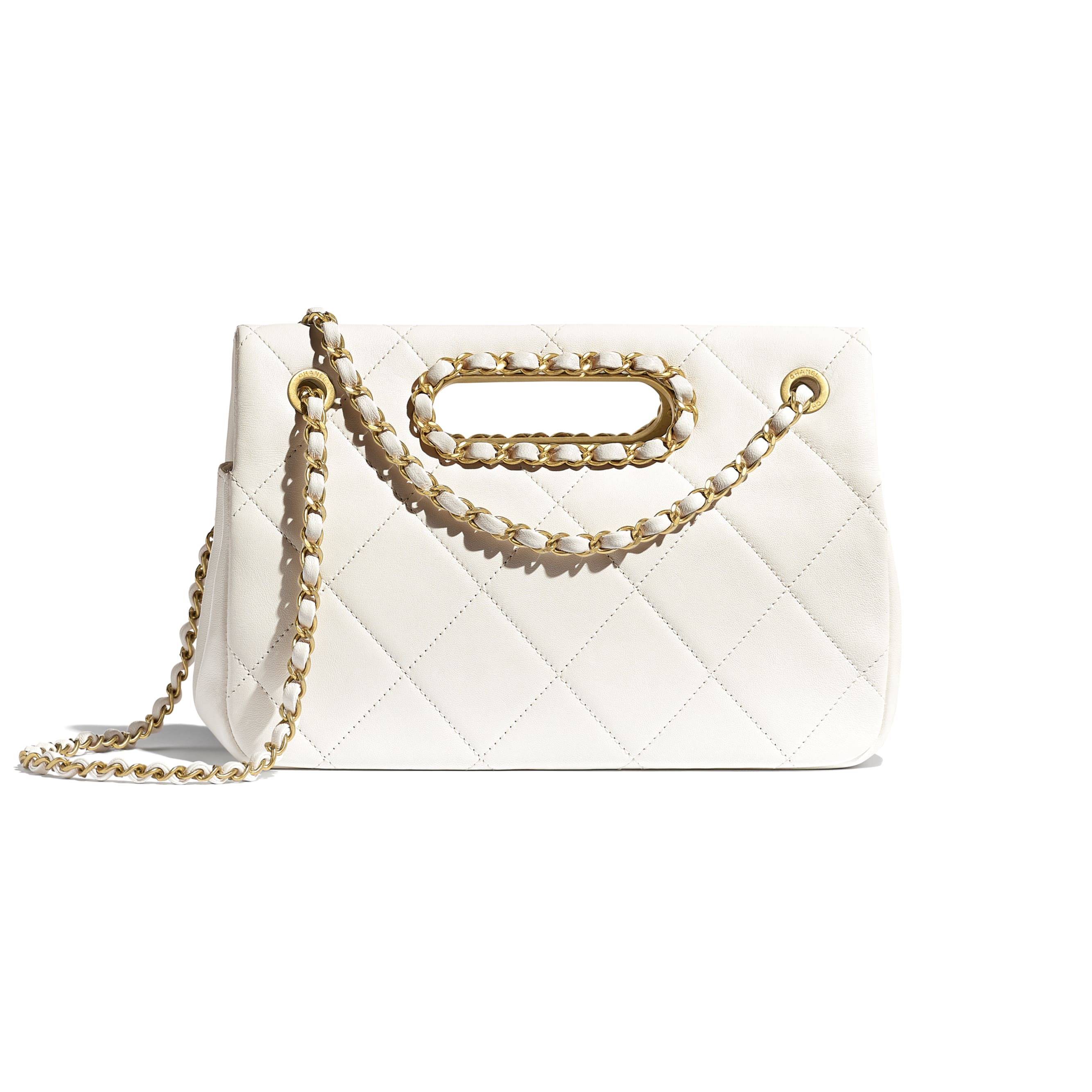 Small Flap Bag - White - Lambskin - CHANEL - Alternative view - see standard sized version