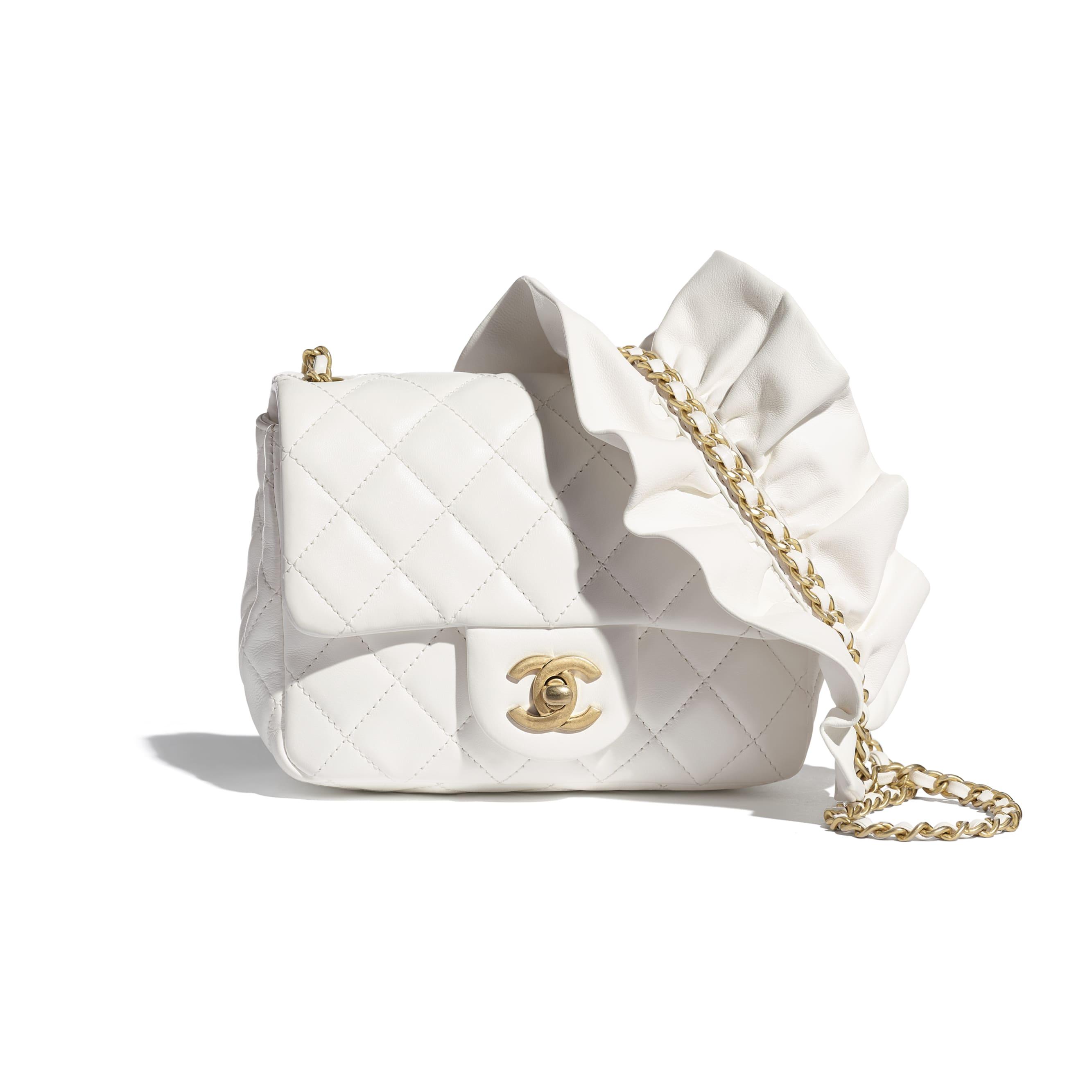 細號垂蓋手袋 - 白色 - 小羊皮及金色金屬 - CHANEL - 預設視圖 - 查看標準尺寸版本