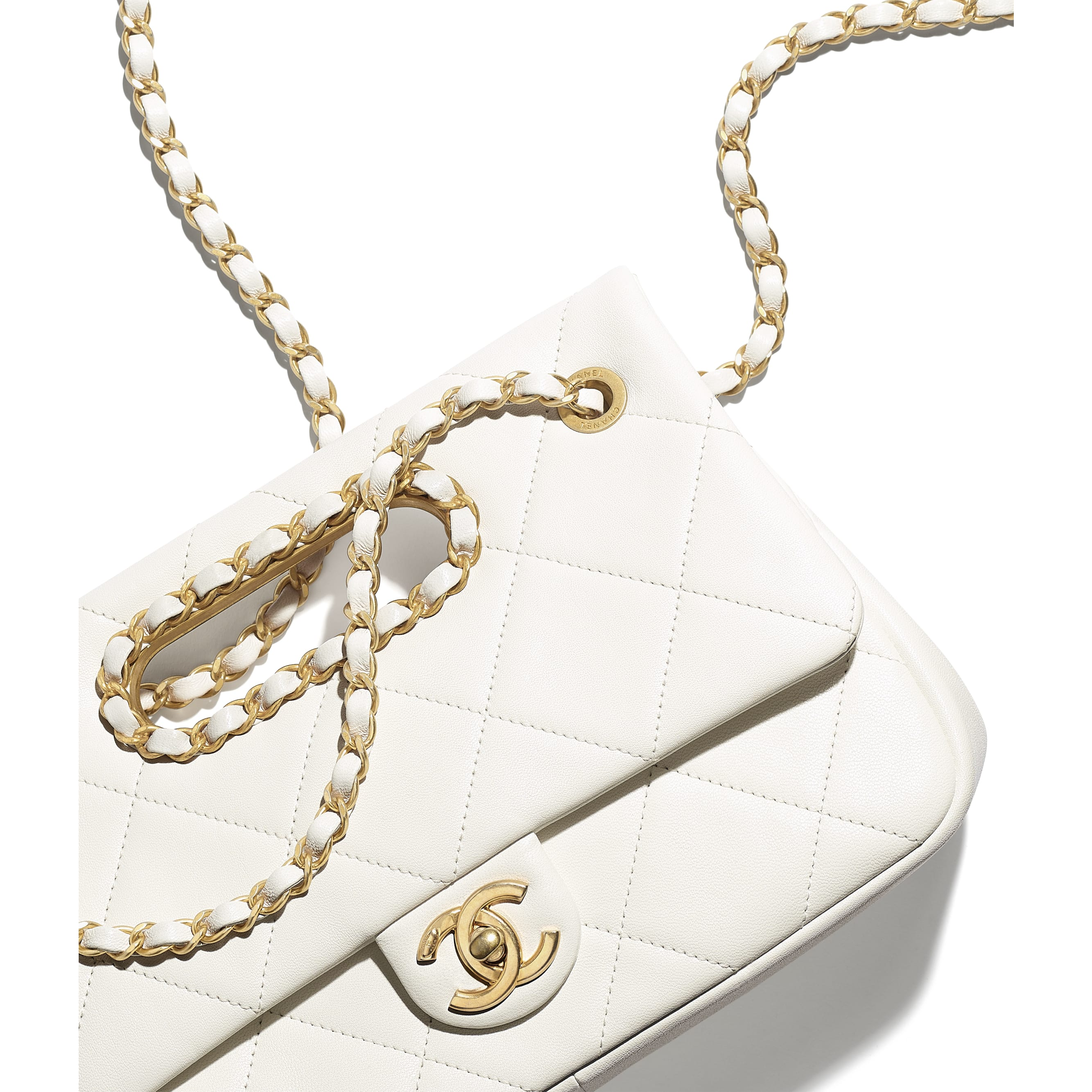 Small Flap Bag - White - Lambskin - CHANEL - Extra view - see standard sized version