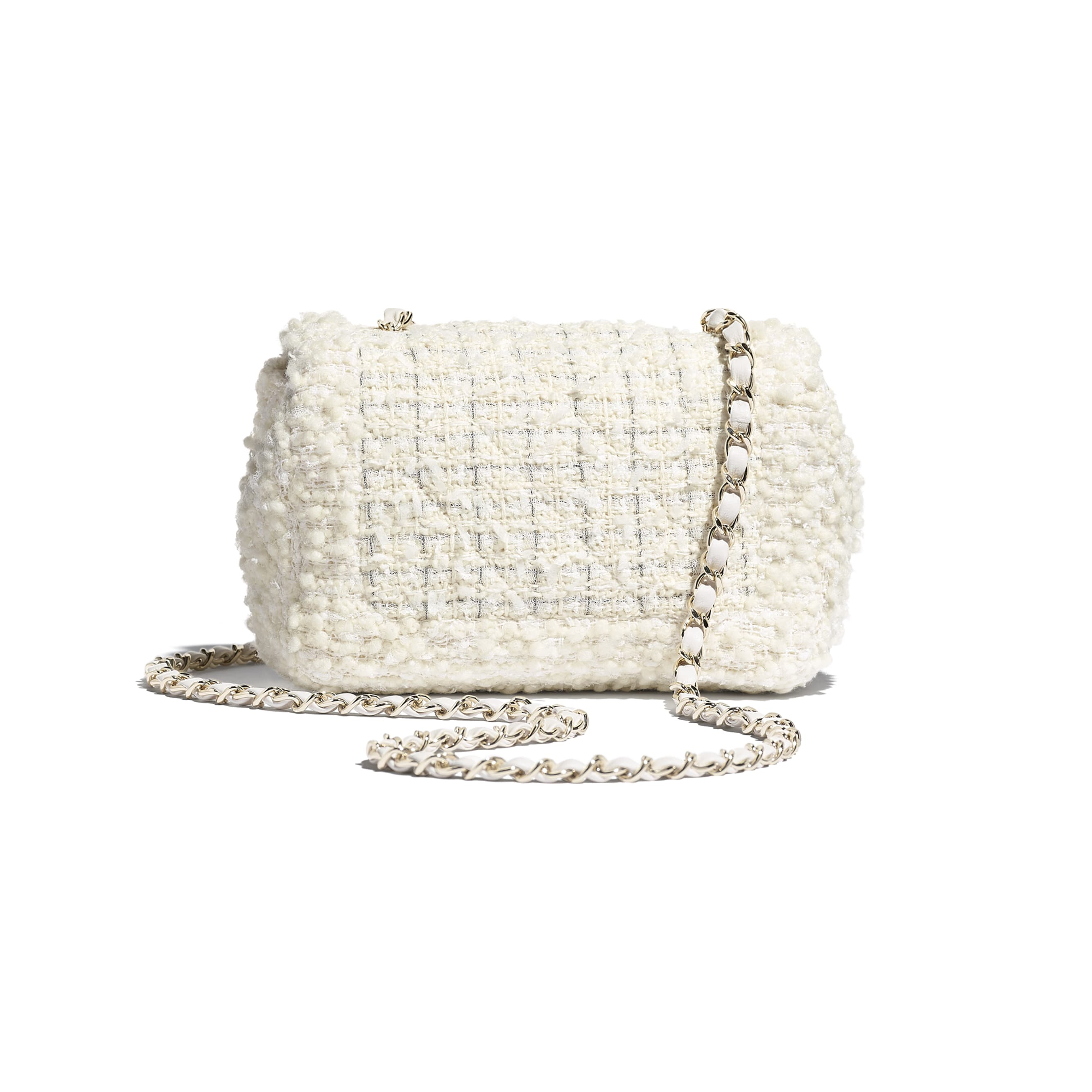 Small Flap Bag - White - Tweed & Gold Metal - CHANEL - Alternative view - see standard sized version