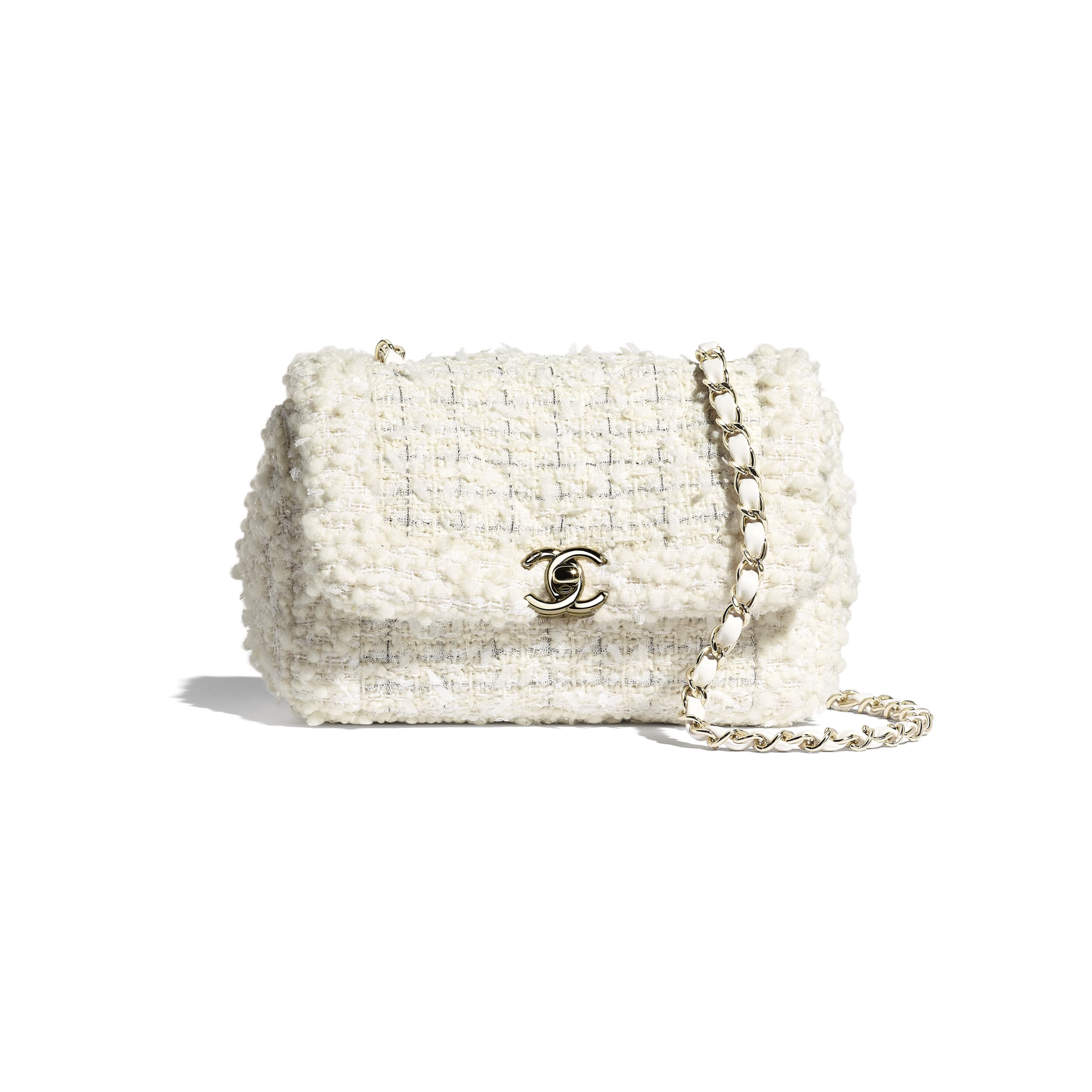 Small Flap Bag - White - Tweed & Gold Metal - CHANEL - Default view - see standard sized version