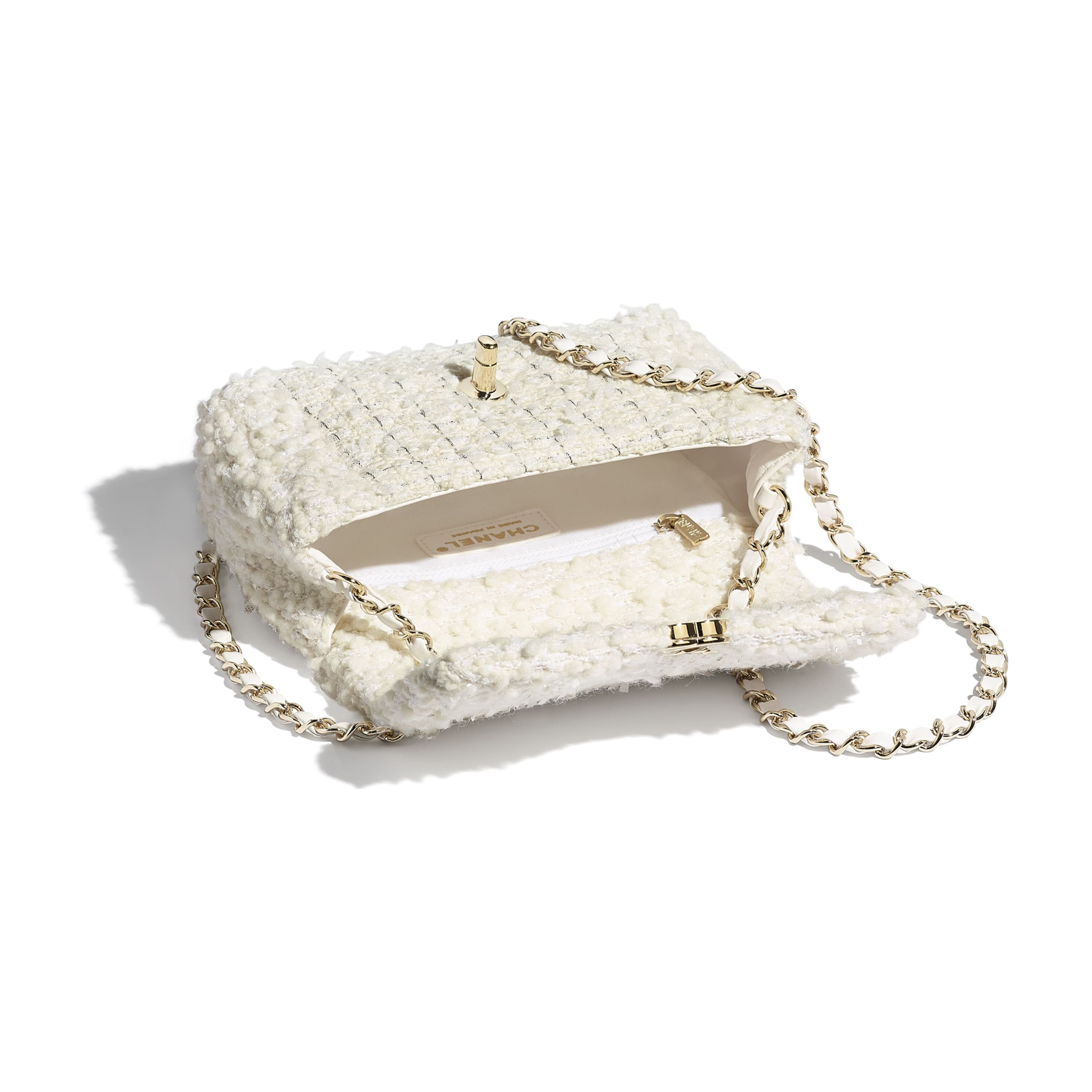 Small Flap Bag - White - Tweed & Gold Metal - CHANEL - Other view - see standard sized version