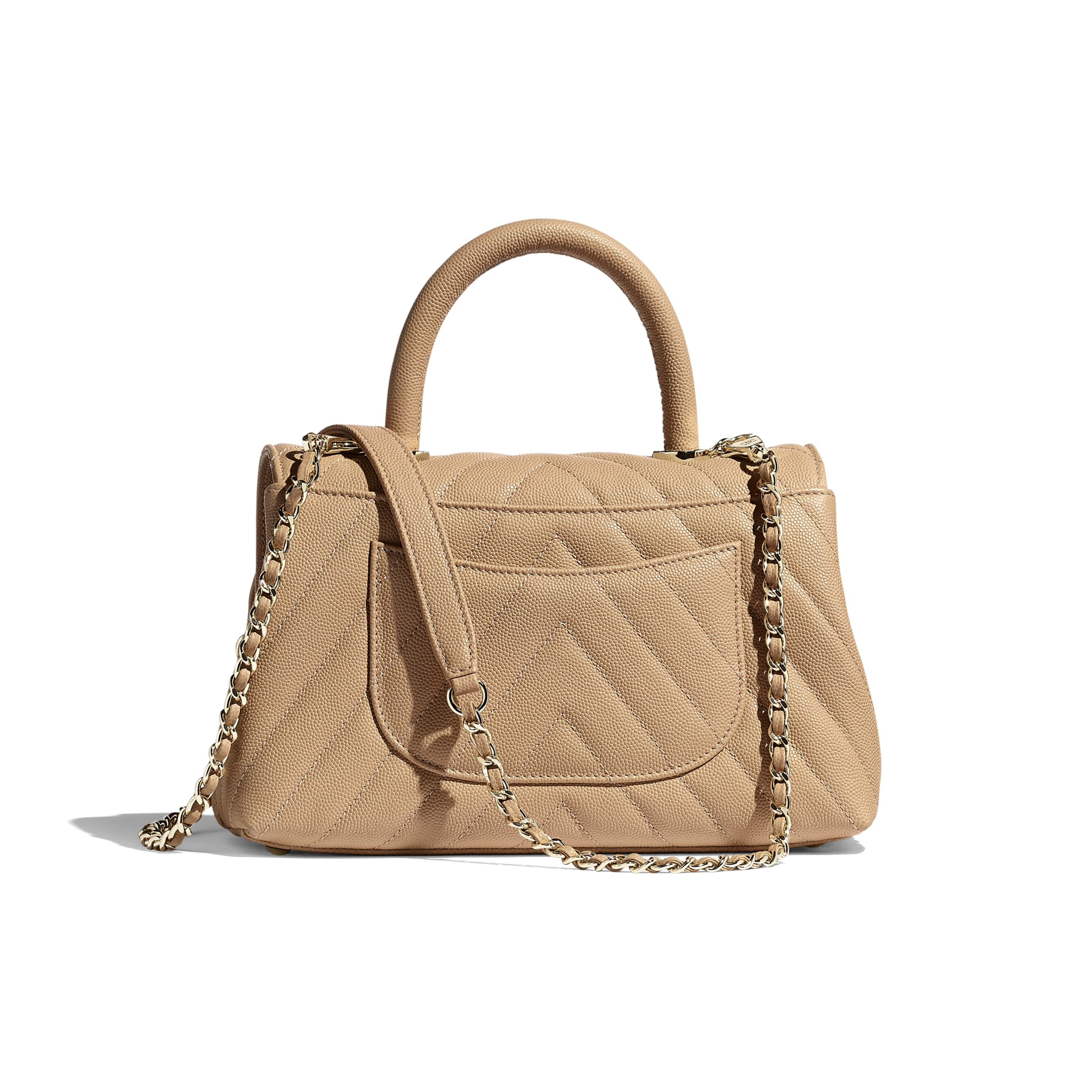 Small Flap Bag With Top Handle - Beige - Grained Calfskin & Gold-Tone Metal - Alternative view - see standard sized version