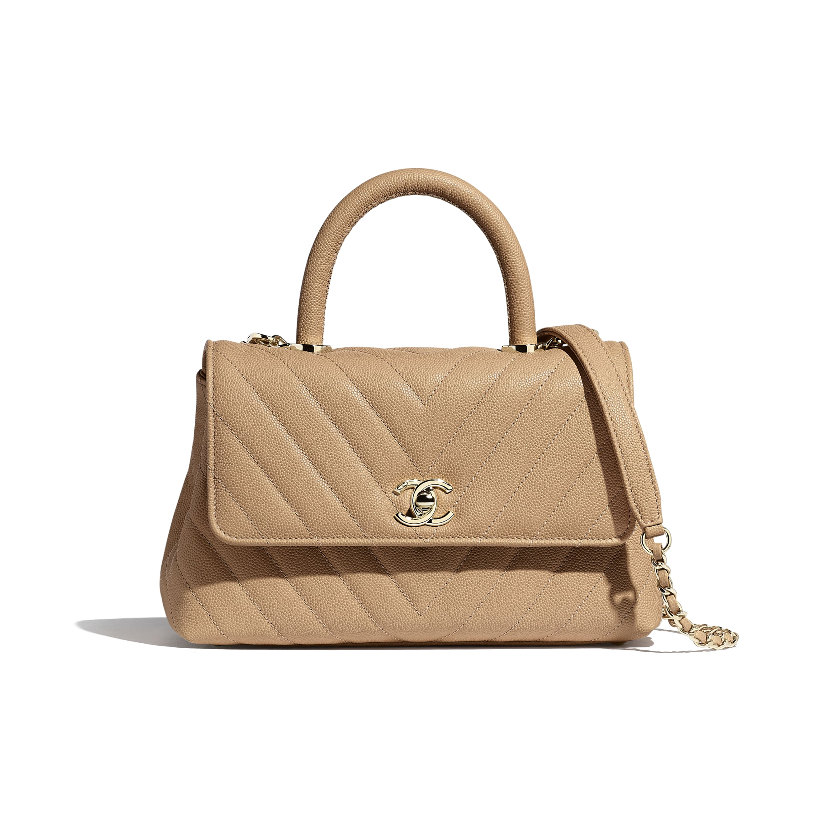 Small Flap Bag With Top Handle - Beige - Grained Calfskin & Gold-Tone Metal - Default view - see standard sized version