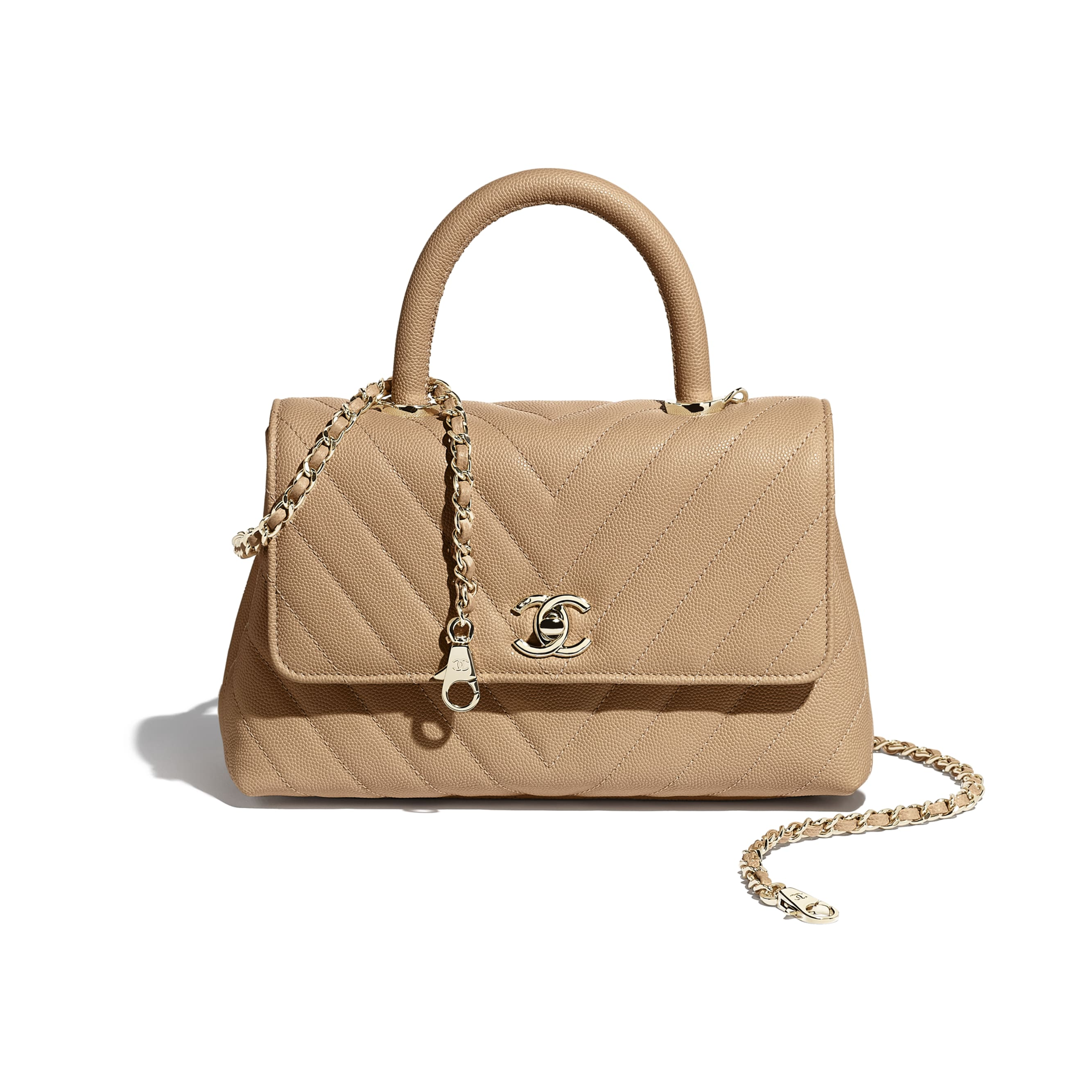 Small Flap Bag With Top Handle - Beige - Grained Calfskin & Gold-Tone Metal - Extra view - see standard sized version