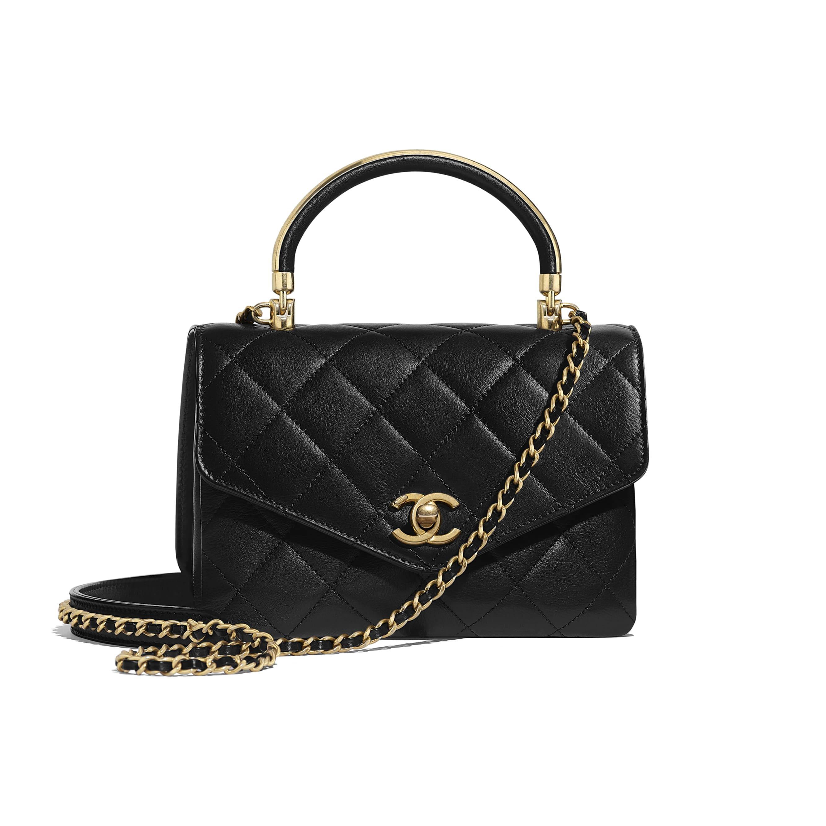 f315ffb14ec3 ... Small Flap Bag with Top Handle - Black - Calfskin   Gold-Tone Metal -