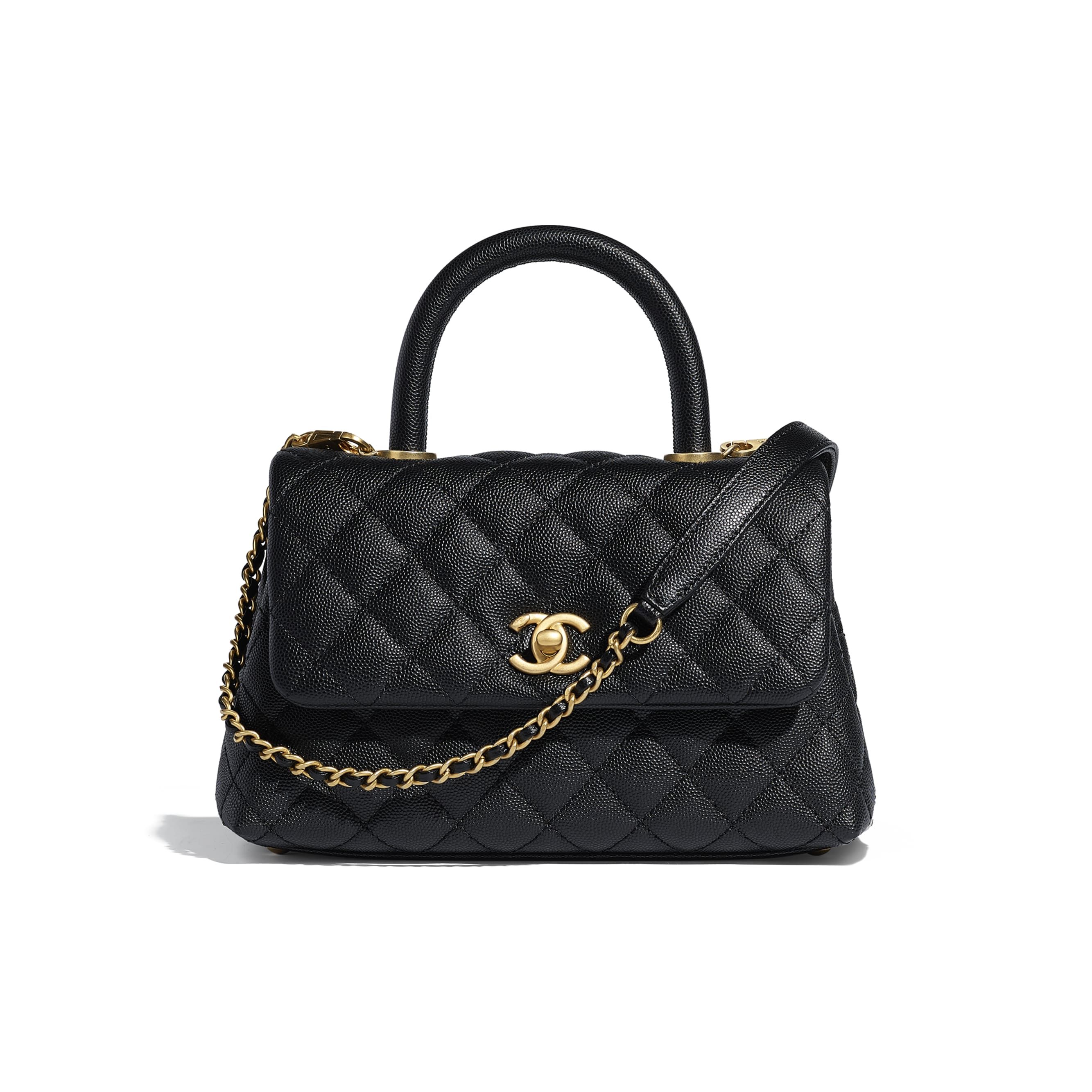 Small Flap Bag With Top Handle - Black - Grained Calfskin & Gold-Tone Metal - Default view - see standard sized version