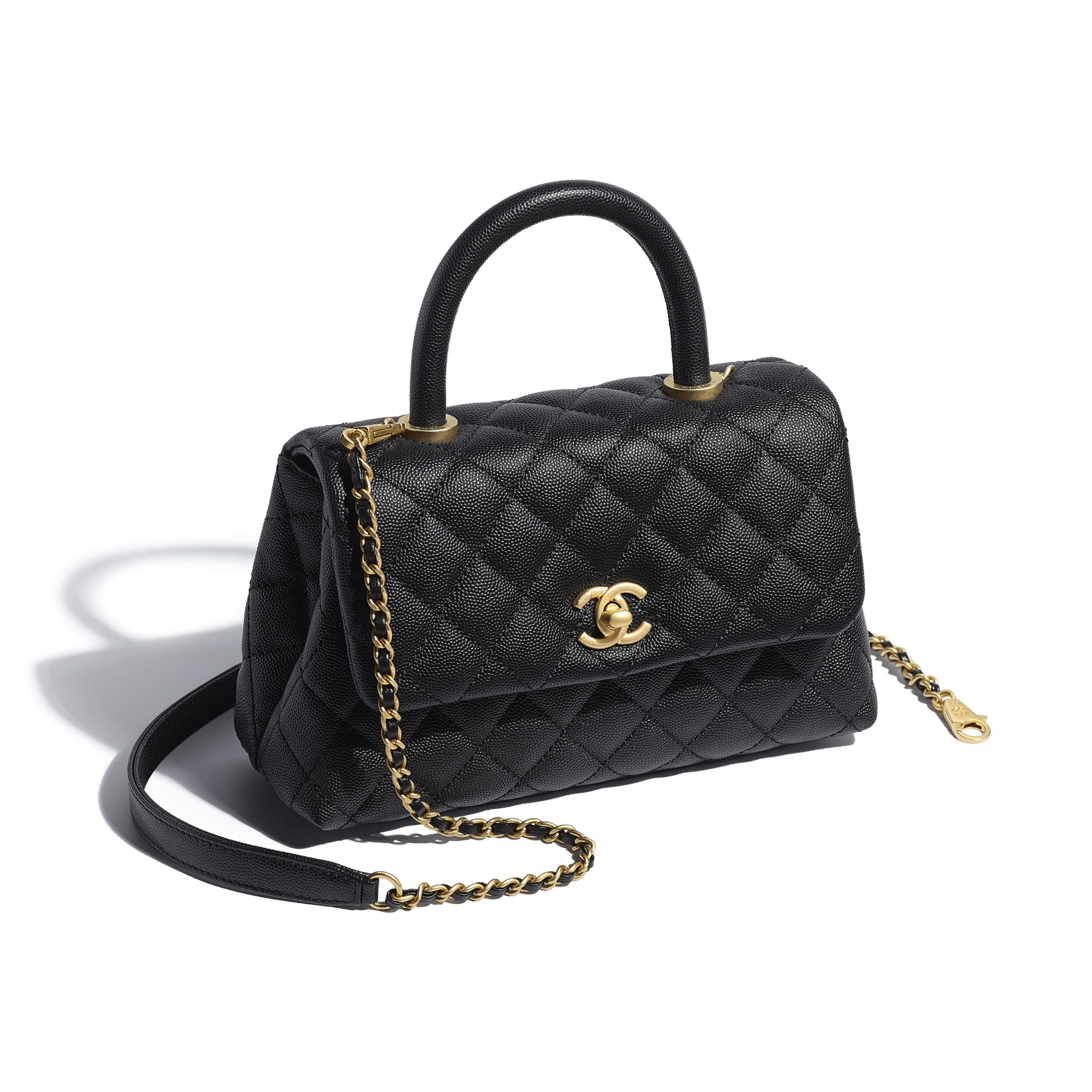 Small Flap Bag With Top Handle - Black - Grained Calfskin & Gold-Tone Metal - Other view - see standard sized version