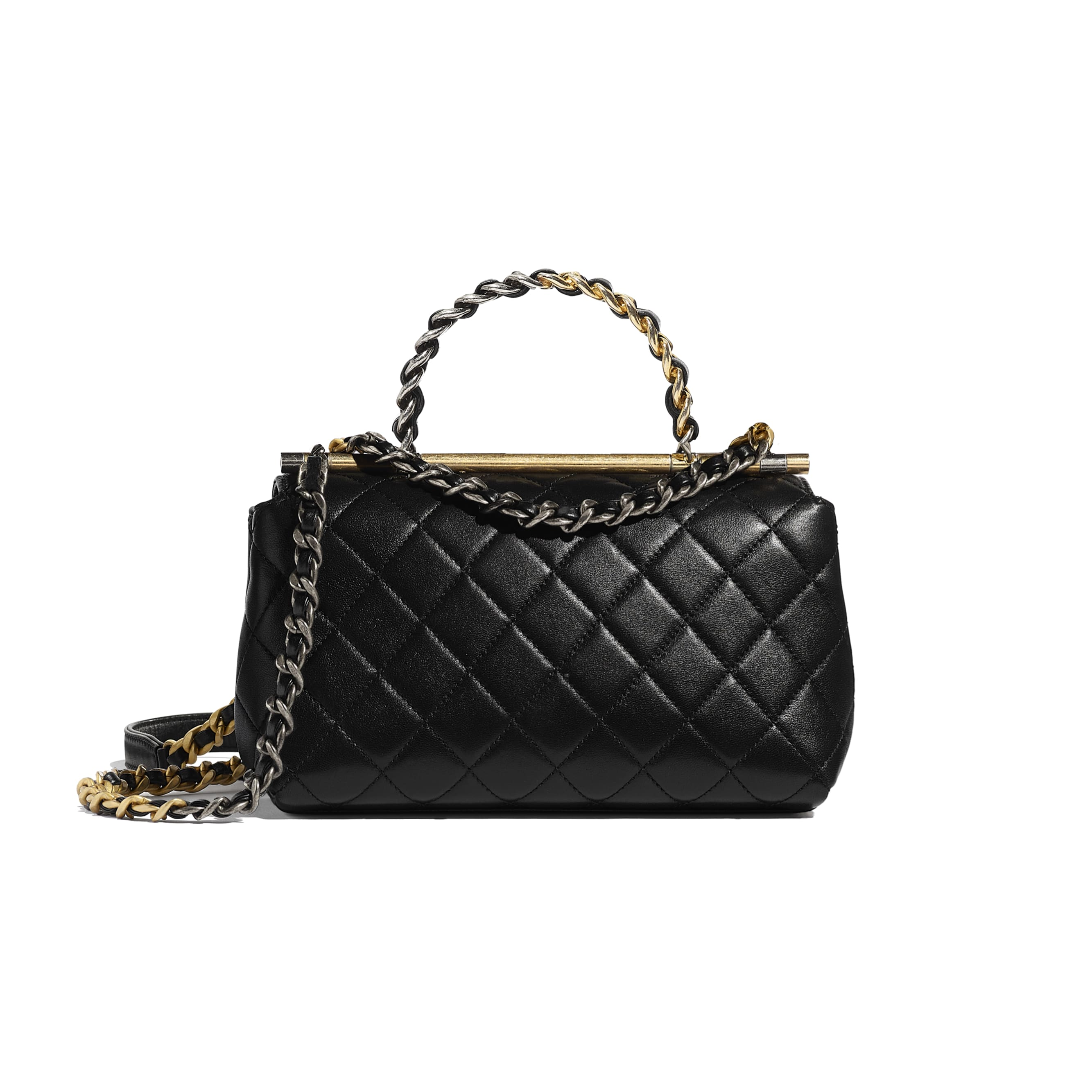 Small Flap Bag with Top Handle - Black - Lambskin, Gold-Tone & Ruthenium-Finish Metal - CHANEL - Alternative view - see standard sized version