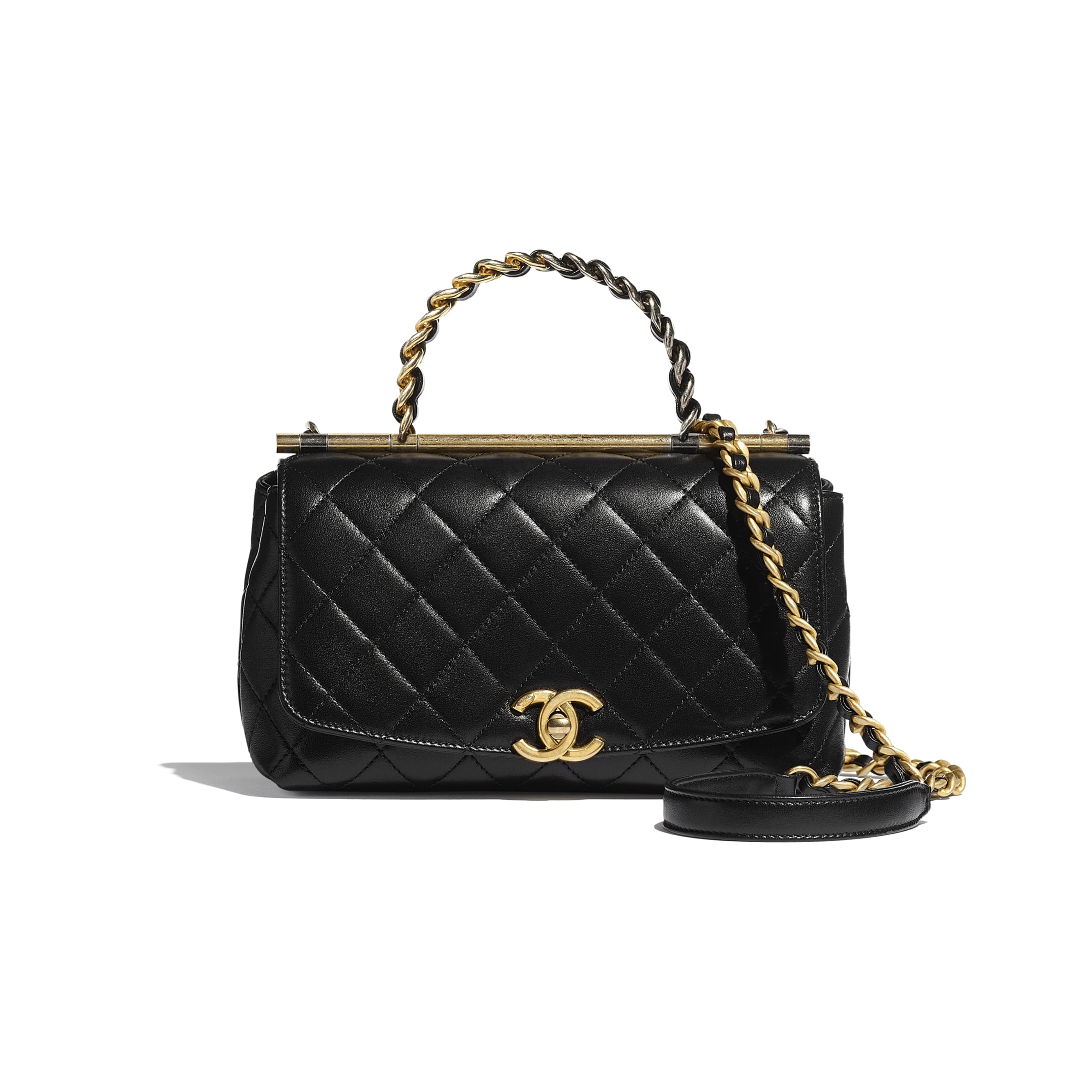 Small Flap Bag with Top Handle - Black - Lambskin, Gold-Tone & Ruthenium-Finish Metal - CHANEL - Default view - see standard sized version