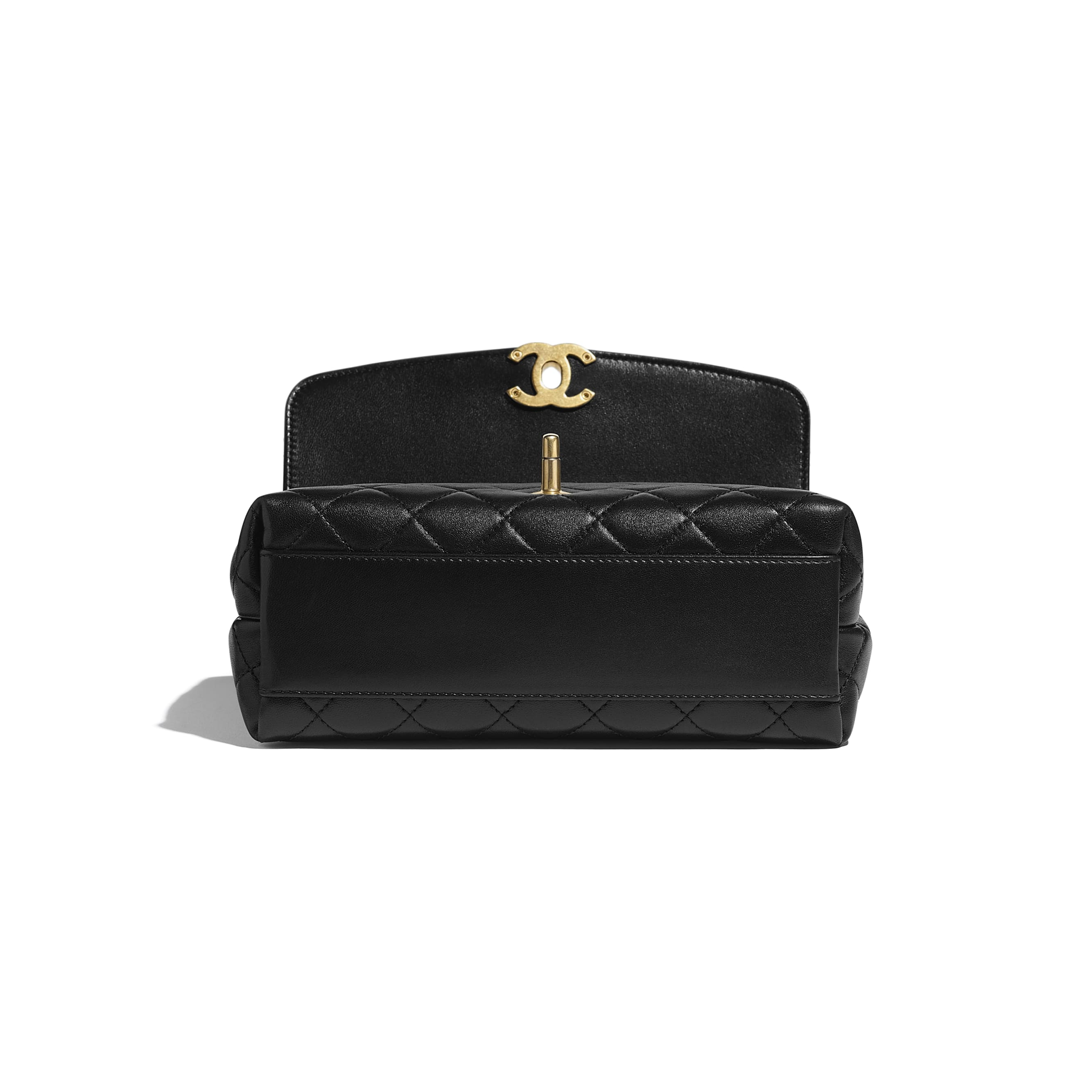 Small Flap Bag with Top Handle - Black - Lambskin, Gold-Tone & Ruthenium-Finish Metal - CHANEL - Extra view - see standard sized version