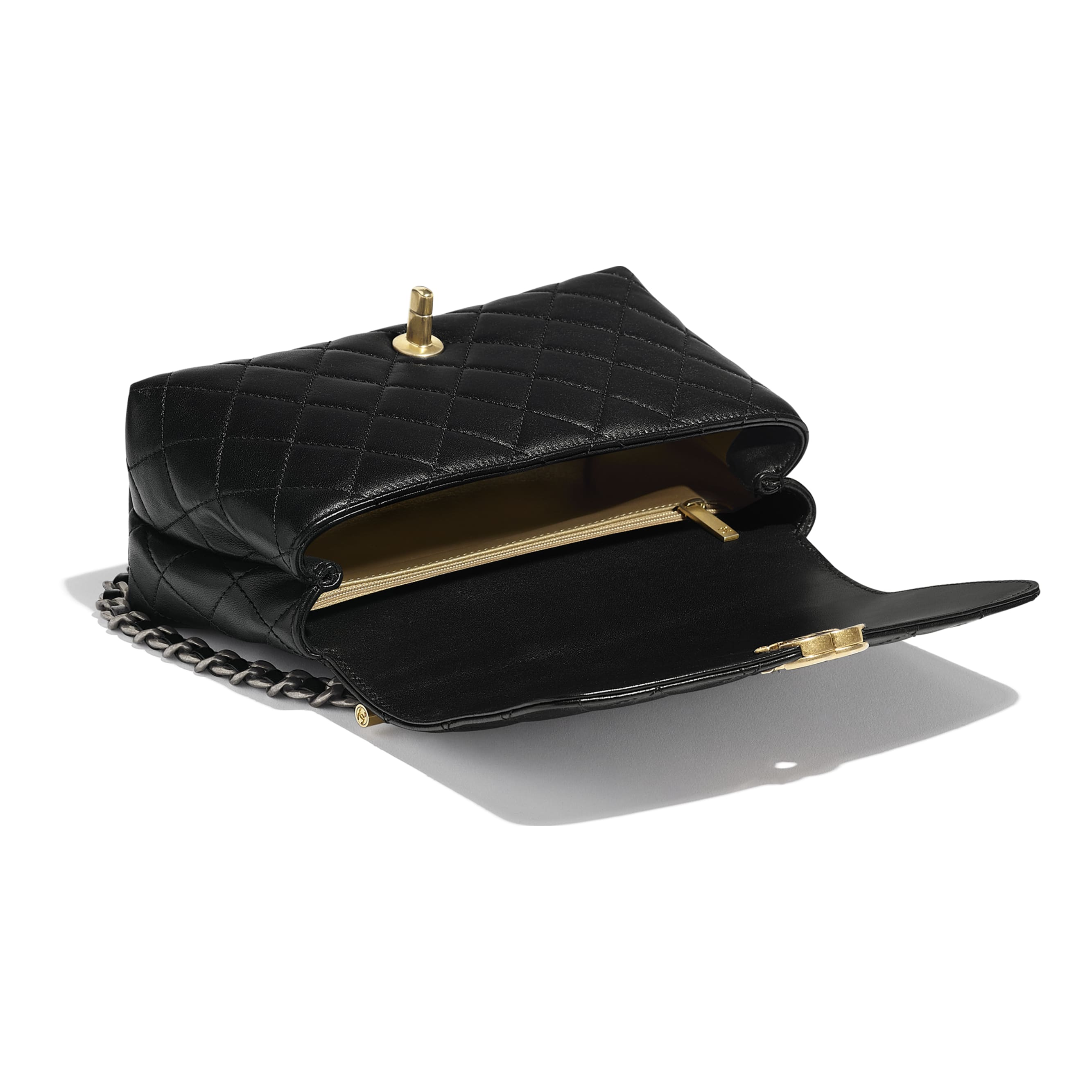 Small Flap Bag with Top Handle - Black - Lambskin, Gold-Tone & Ruthenium-Finish Metal - CHANEL - Other view - see standard sized version