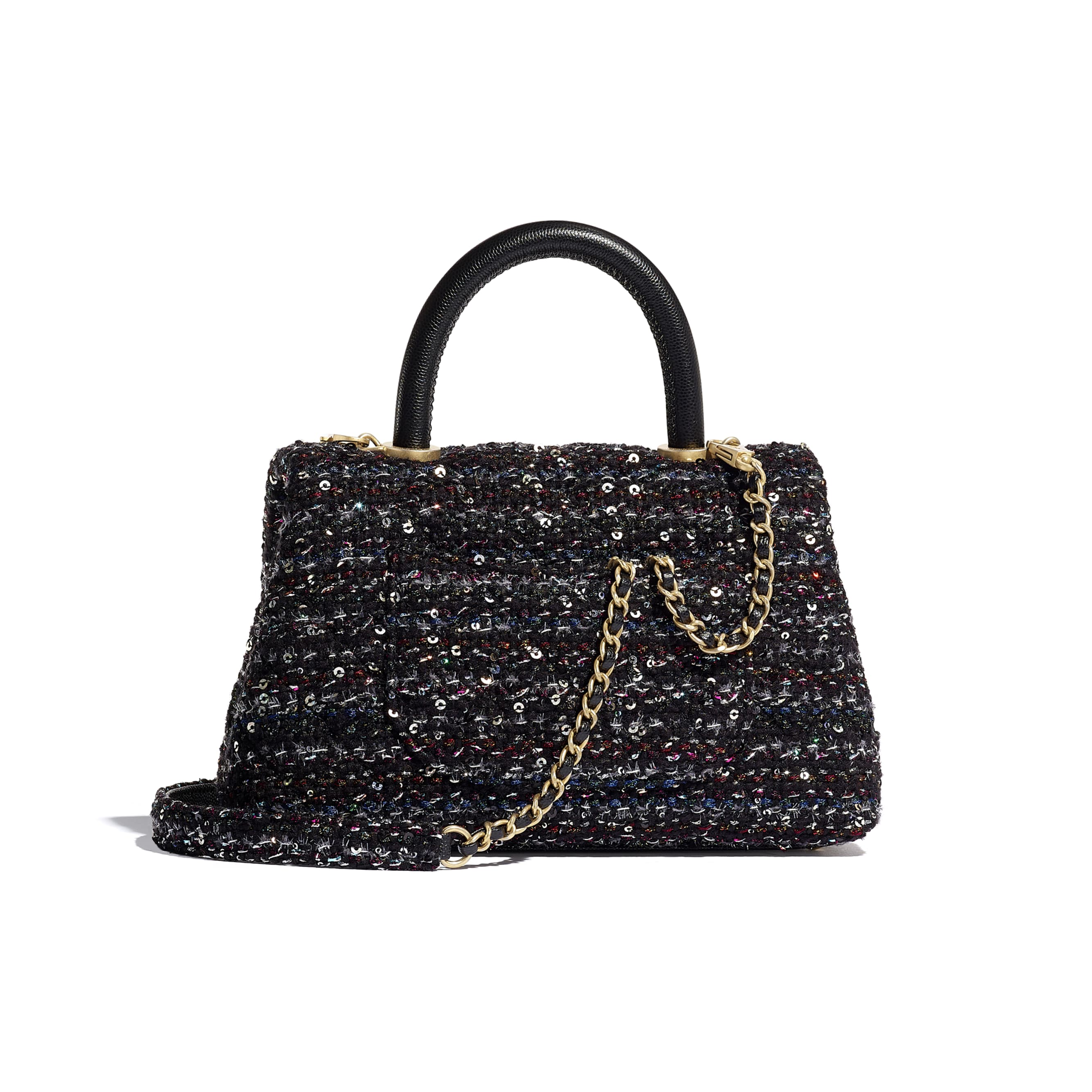 Small Flap Bag With Top Handle - Black, Silver, Blue & Red - Tweed, Grained Calfskin & Gold-Tone Metal - CHANEL - Alternative view - see standard sized version