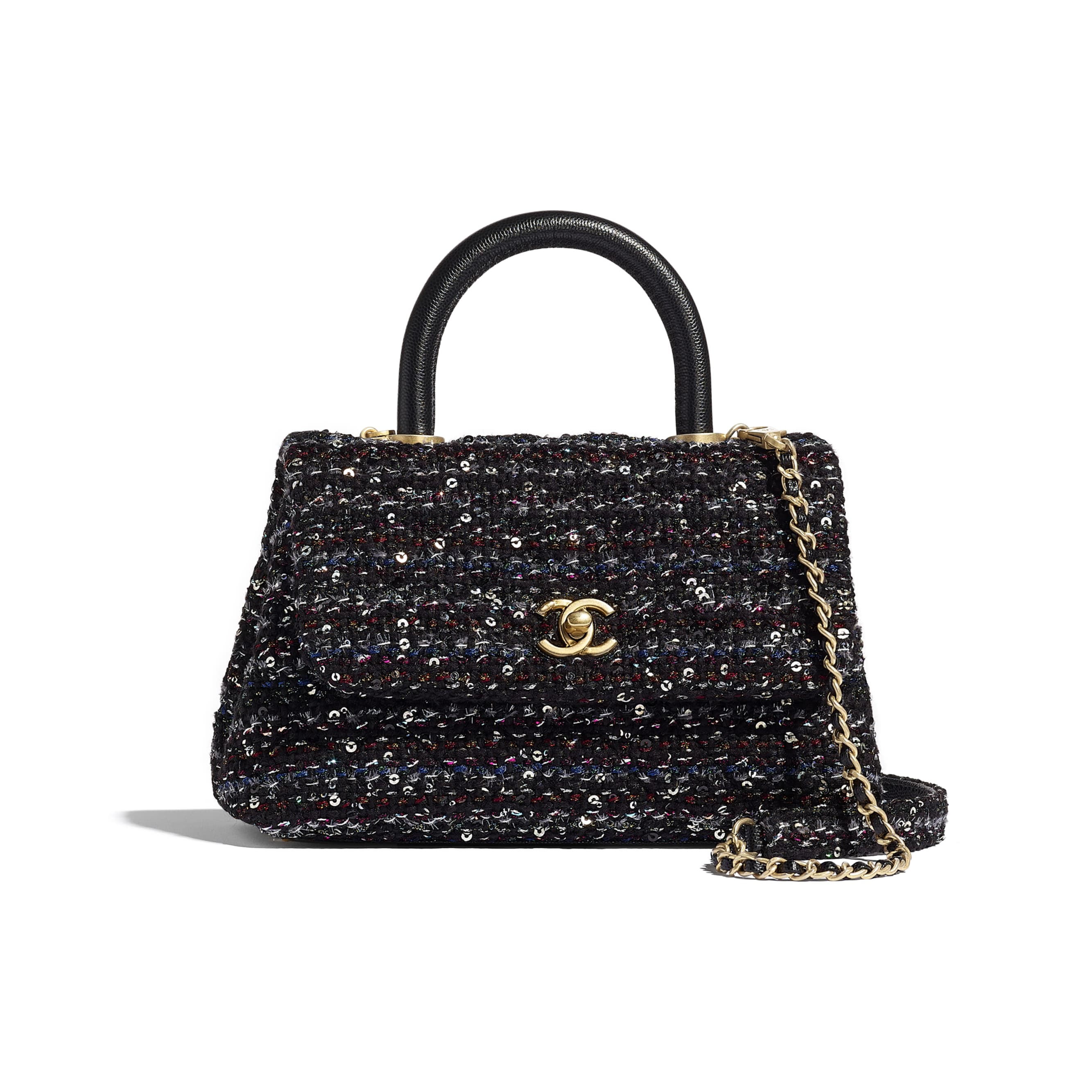 Small Flap Bag With Top Handle - Black, Silver, Blue & Red - Tweed, Grained Calfskin & Gold-Tone Metal - CHANEL - Default view - see standard sized version