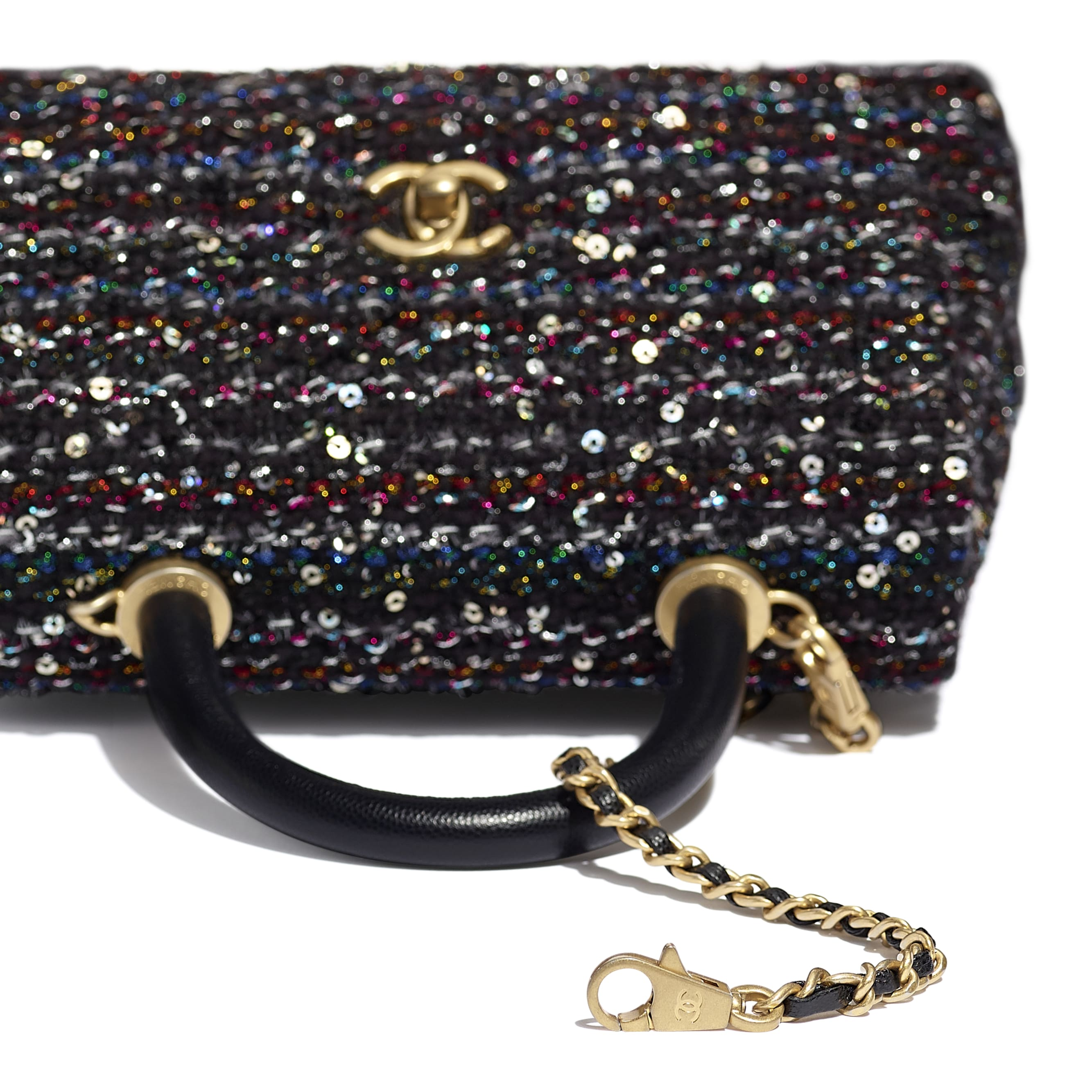 Small Flap Bag With Top Handle - Black, Silver, Blue & Red - Tweed, Grained Calfskin & Gold-Tone Metal - CHANEL - Extra view - see standard sized version