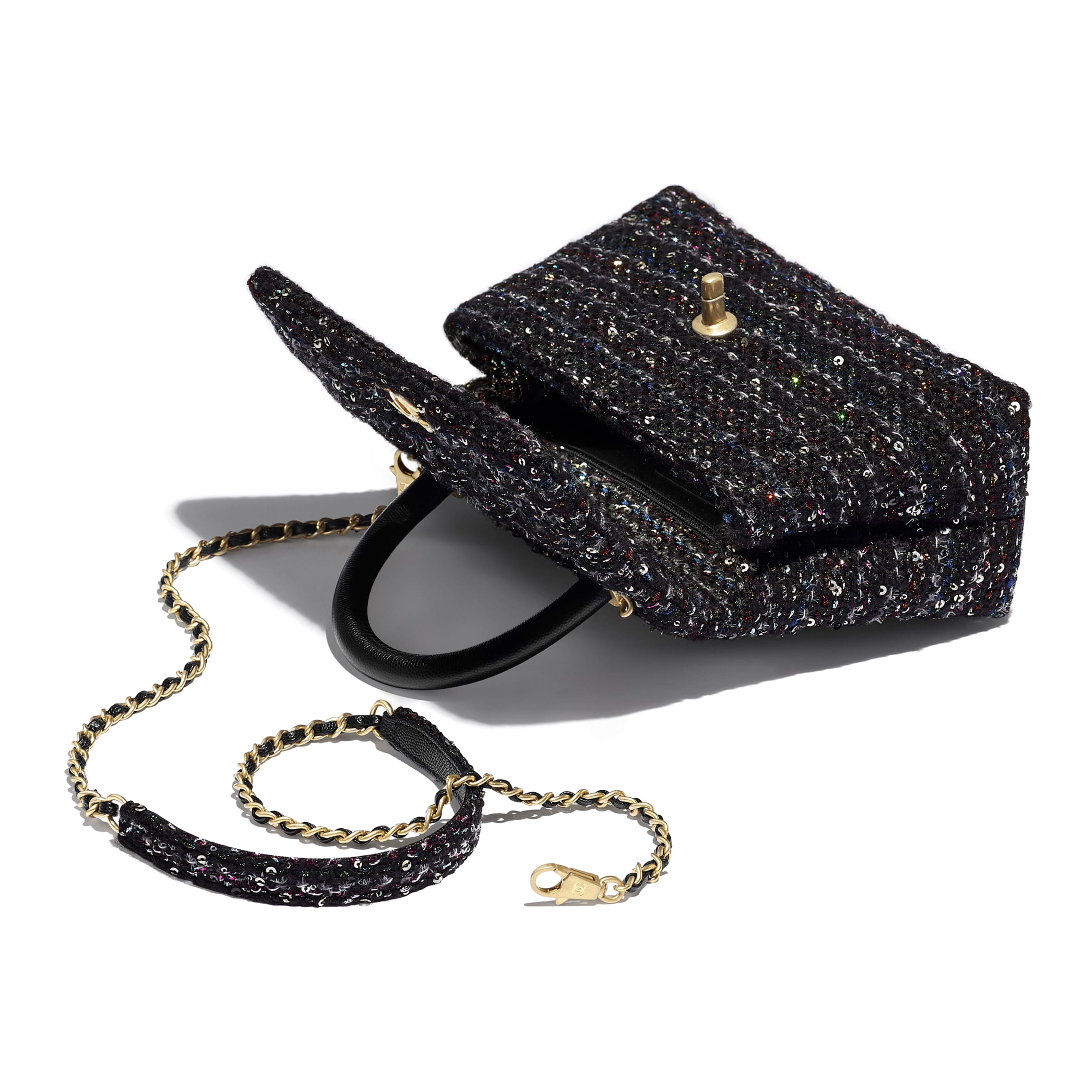 Small Flap Bag With Top Handle - Black, Silver, Blue & Red - Tweed, Grained Calfskin & Gold-Tone Metal - CHANEL - Other view - see standard sized version