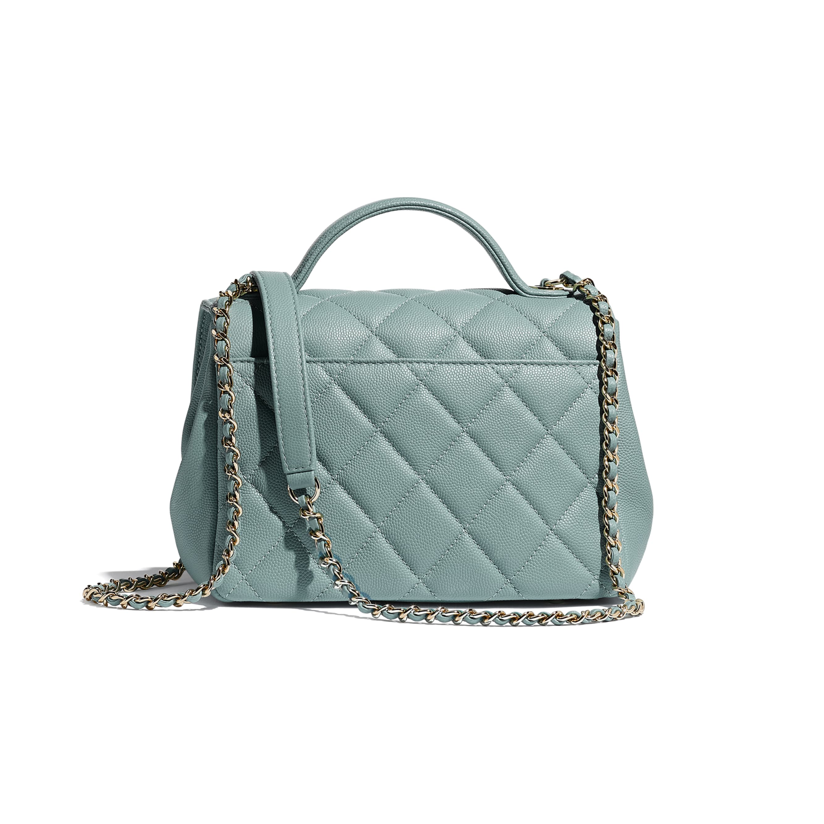Small Flap Bag With Top Handle - Blue - Grained Calfskin & Gold-Tone Metal - CHANEL - Alternative view - see standard sized version