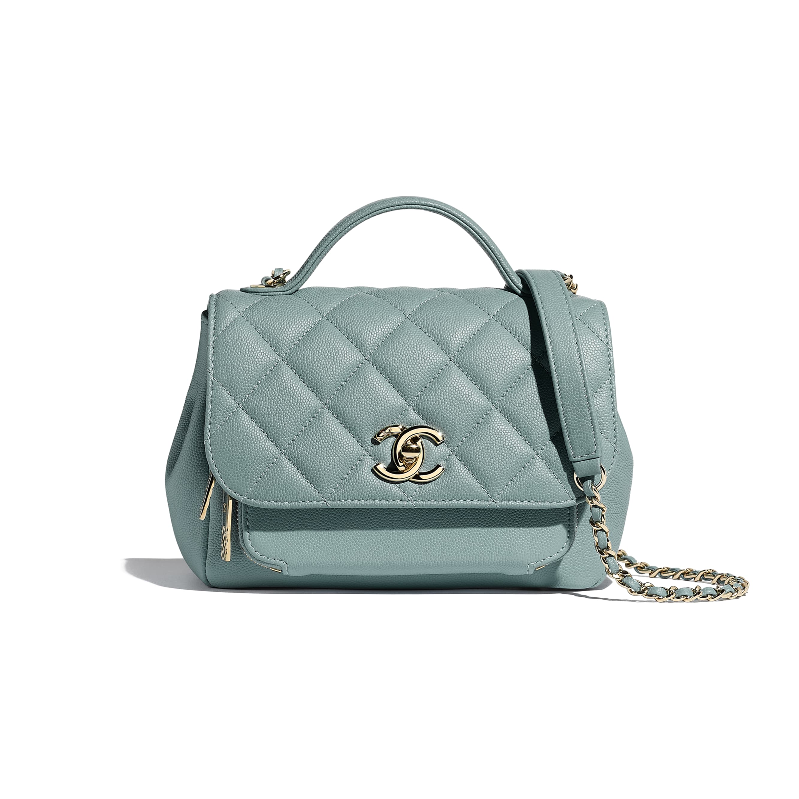 Small Flap Bag With Top Handle - Blue - Grained Calfskin & Gold-Tone Metal - CHANEL - Default view - see standard sized version