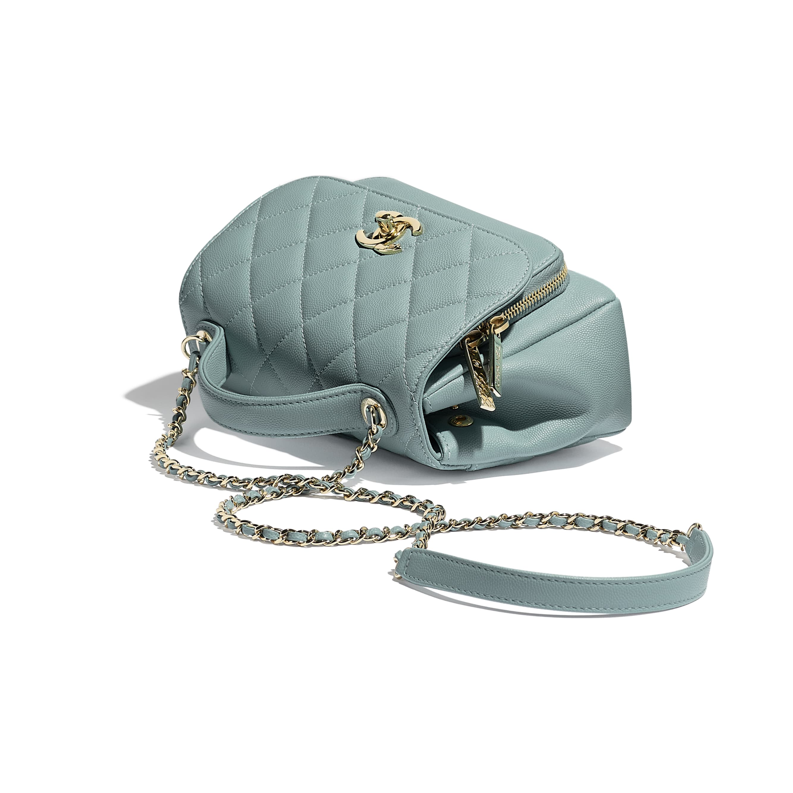 Small Flap Bag With Top Handle - Blue - Grained Calfskin & Gold-Tone Metal - Extra view - see standard sized version