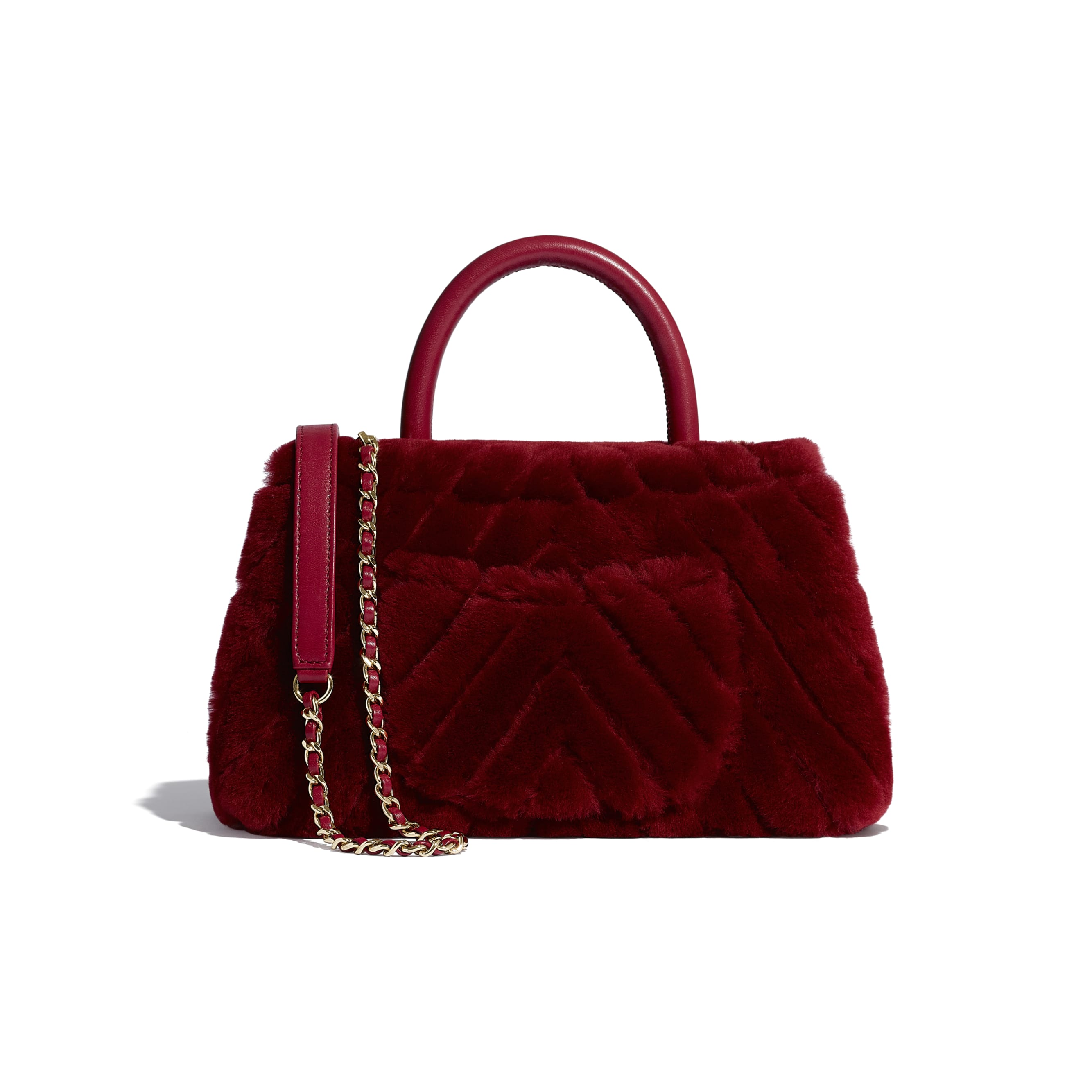 Small Flap Bag With Top Handle - Burgundy - Shearling Lambskin, Lambskin &Gold-Tone Metal - Alternative view - see standard sized version