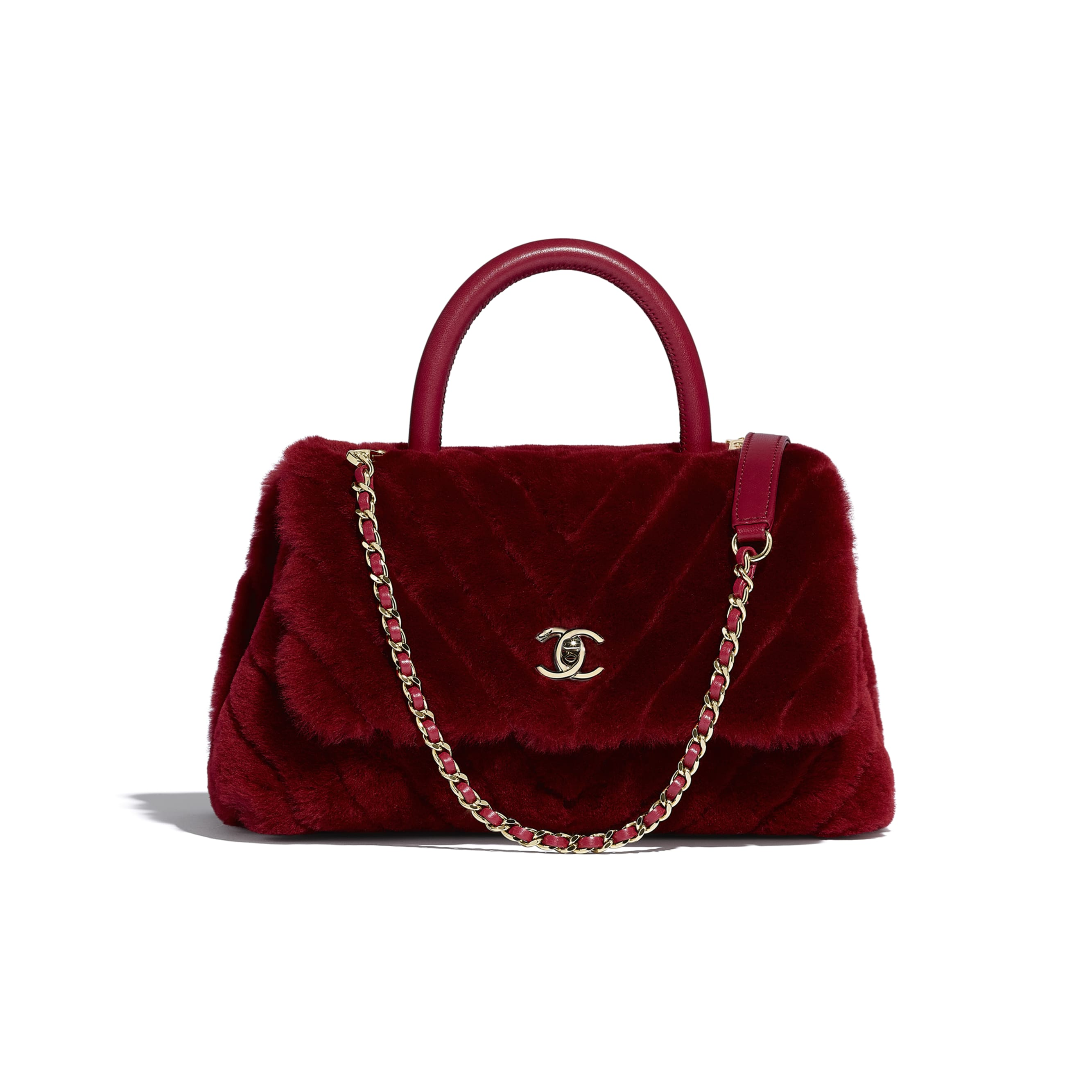 Small Flap Bag With Top Handle - Burgundy - Shearling Lambskin, Lambskin &Gold-Tone Metal - Default view - see standard sized version