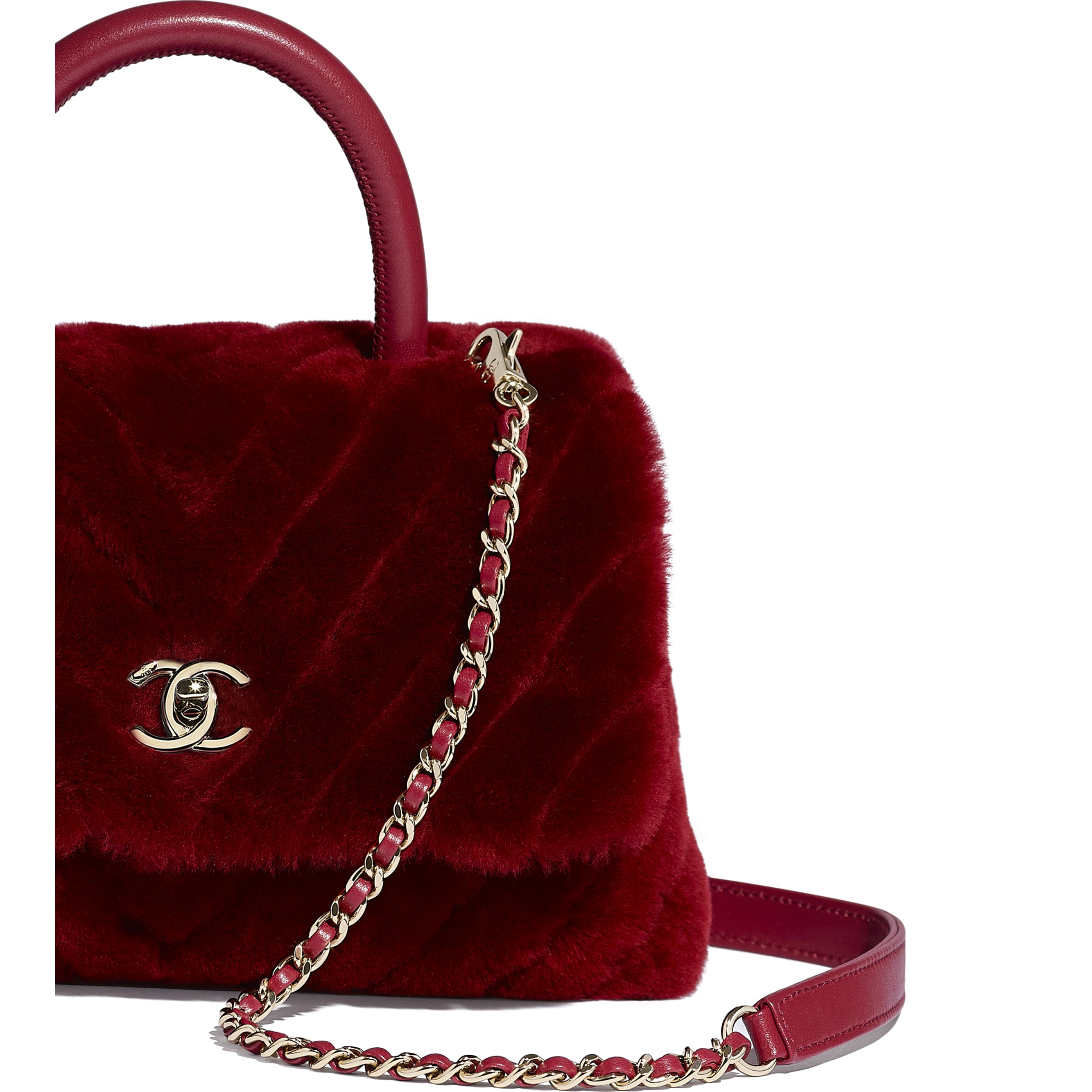 Small Flap Bag With Top Handle - Burgundy - Shearling Lambskin, Lambskin &Gold-Tone Metal - Extra view - see standard sized version