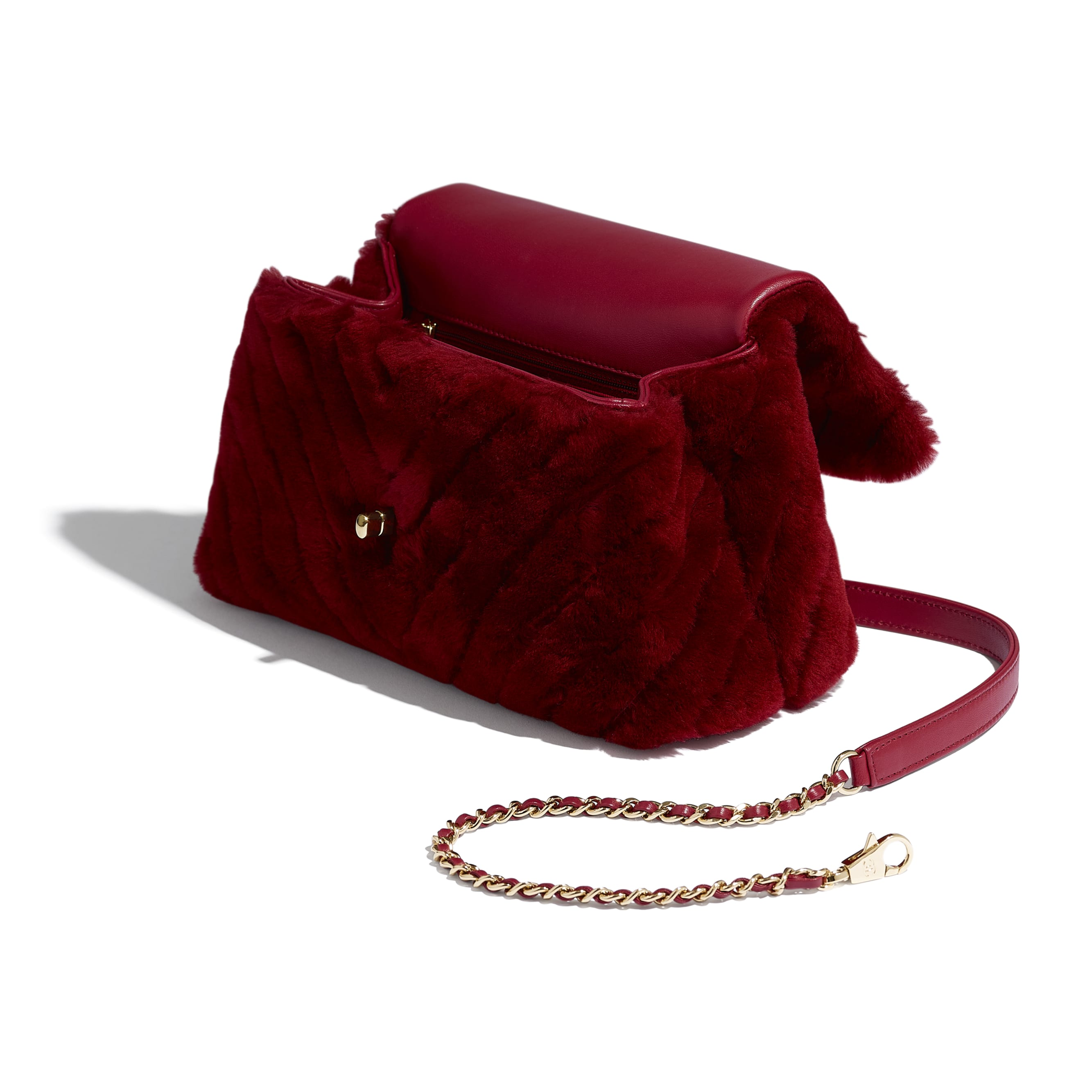 Small Flap Bag With Top Handle - Burgundy - Shearling Lambskin, Lambskin &Gold-Tone Metal - Other view - see standard sized version