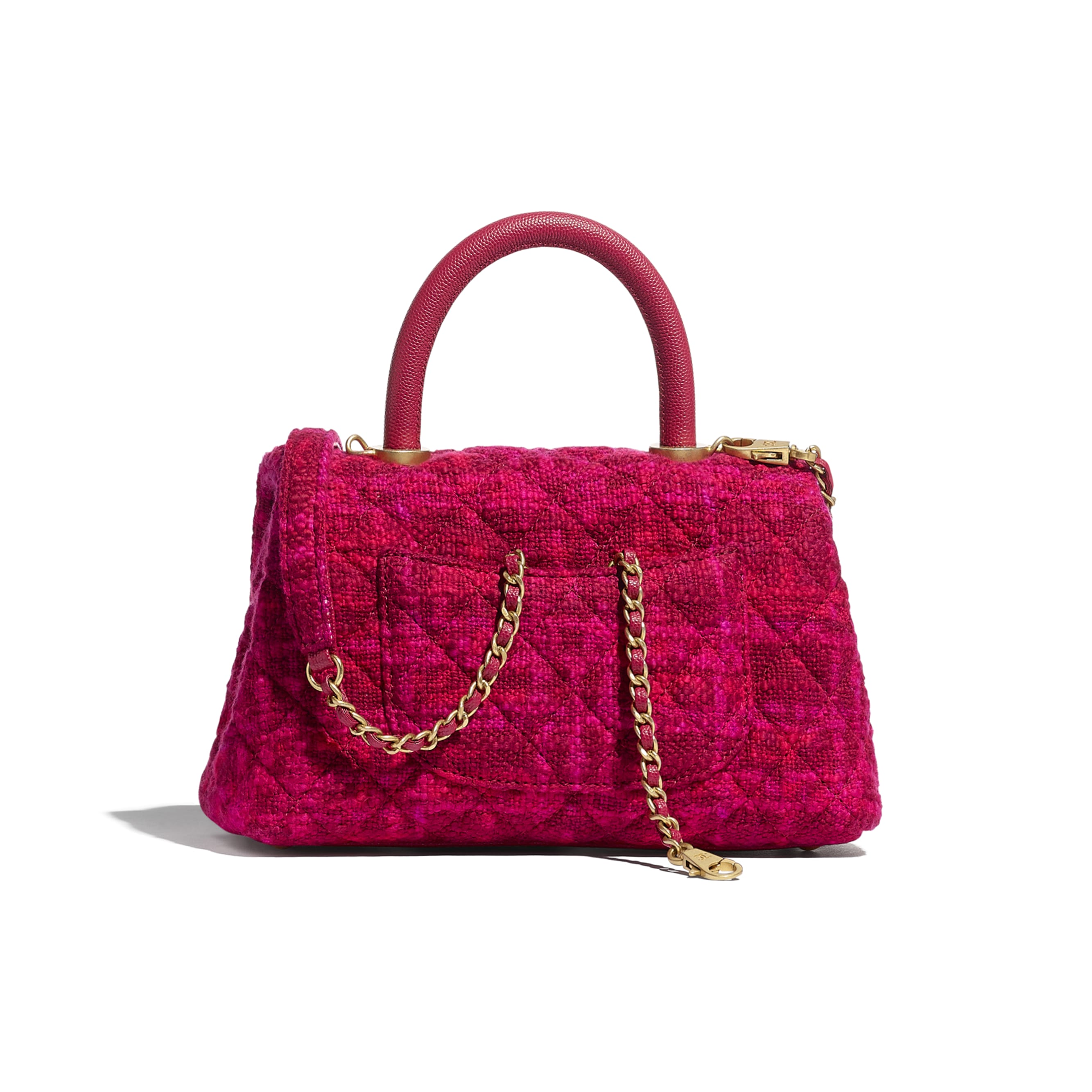 Small Flap Bag with Top Handle - Fuchsia & Red - Cotton Tweed, Grained Calfskin & Gold-Tone Metal - CHANEL - Alternative view - see standard sized version