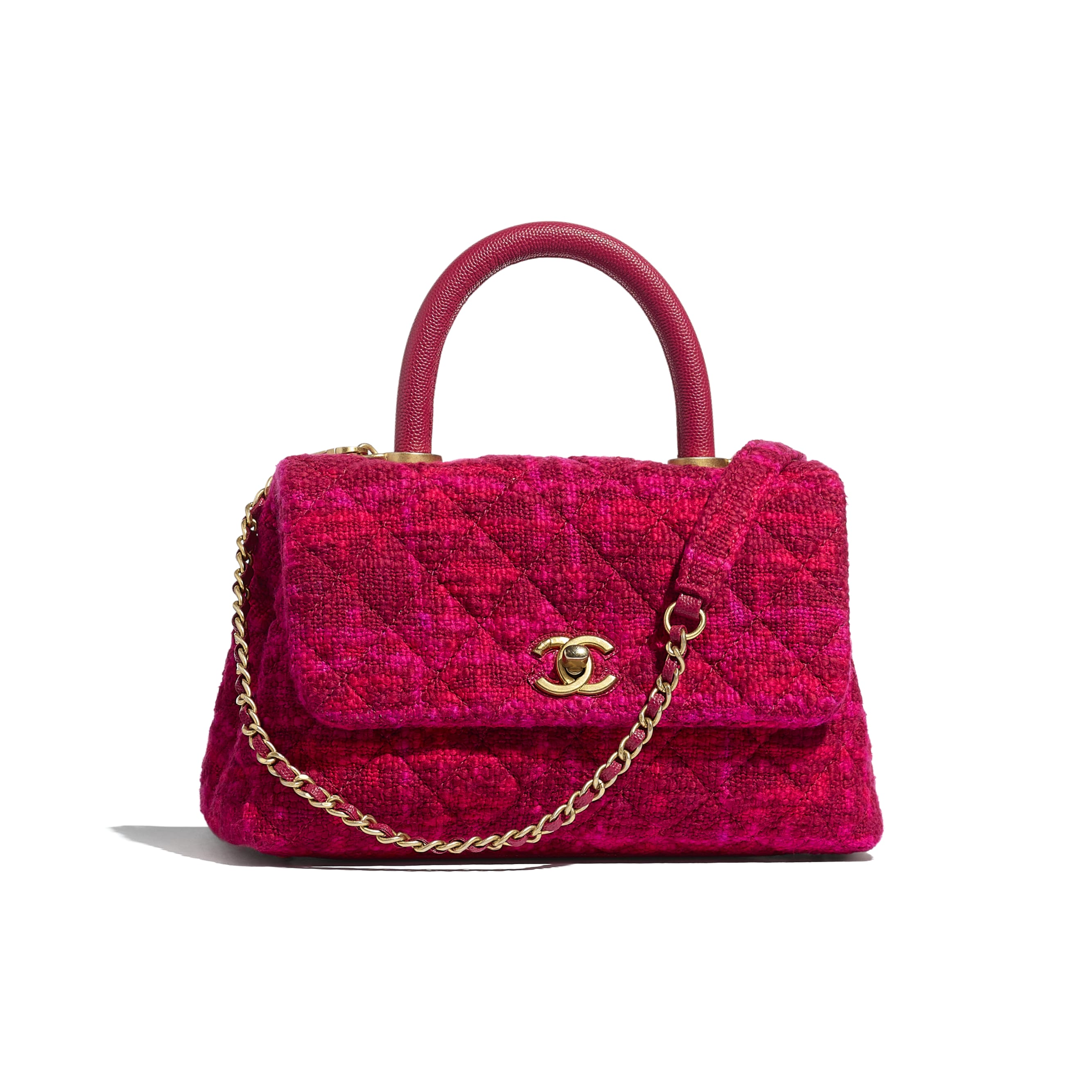 Small Flap Bag with Top Handle - Fuchsia & Red - Cotton Tweed, Grained Calfskin & Gold-Tone Metal - CHANEL - Default view - see standard sized version
