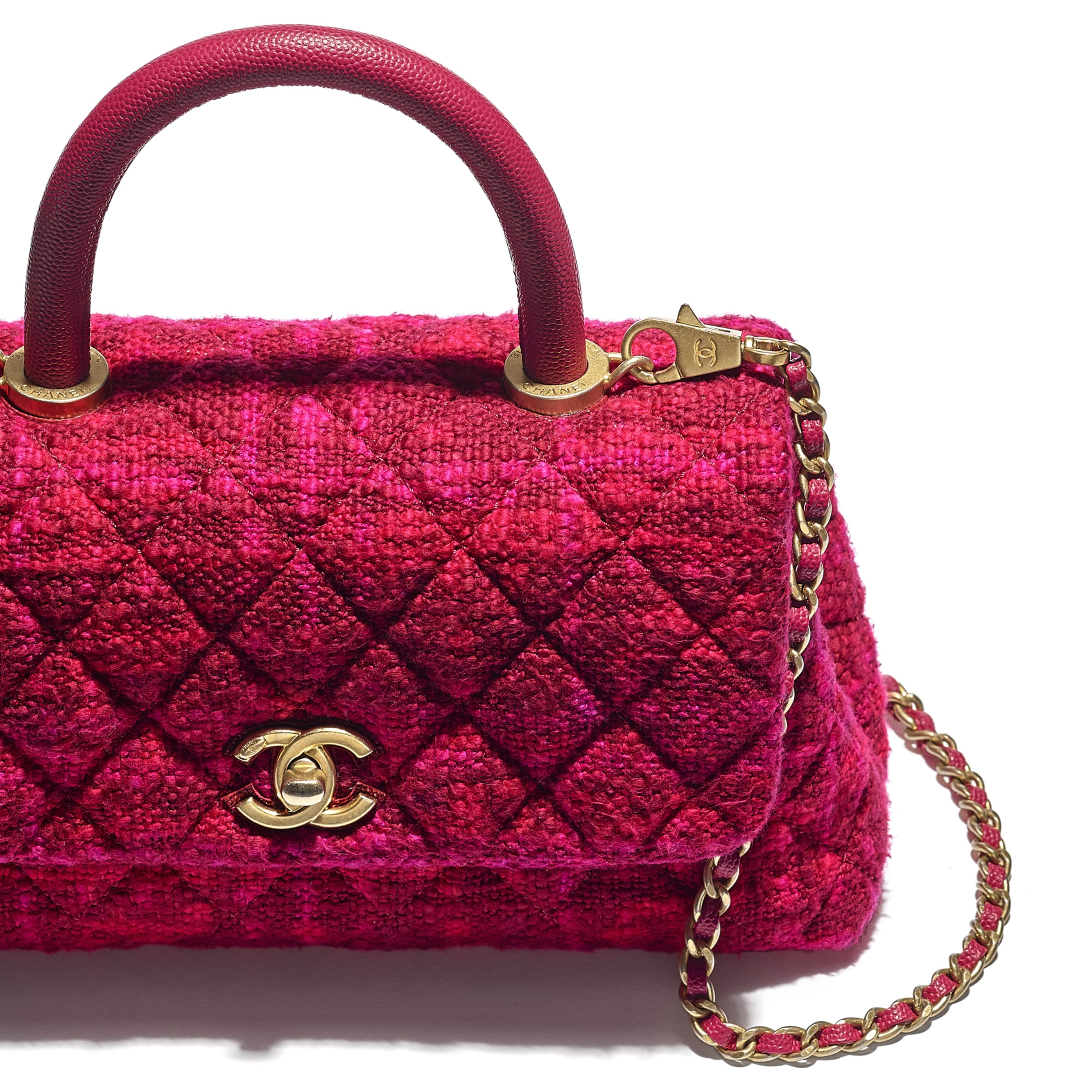 Small Flap Bag with Top Handle - Fuchsia & Red - Cotton Tweed, Grained Calfskin & Gold-Tone Metal - CHANEL - Extra view - see standard sized version