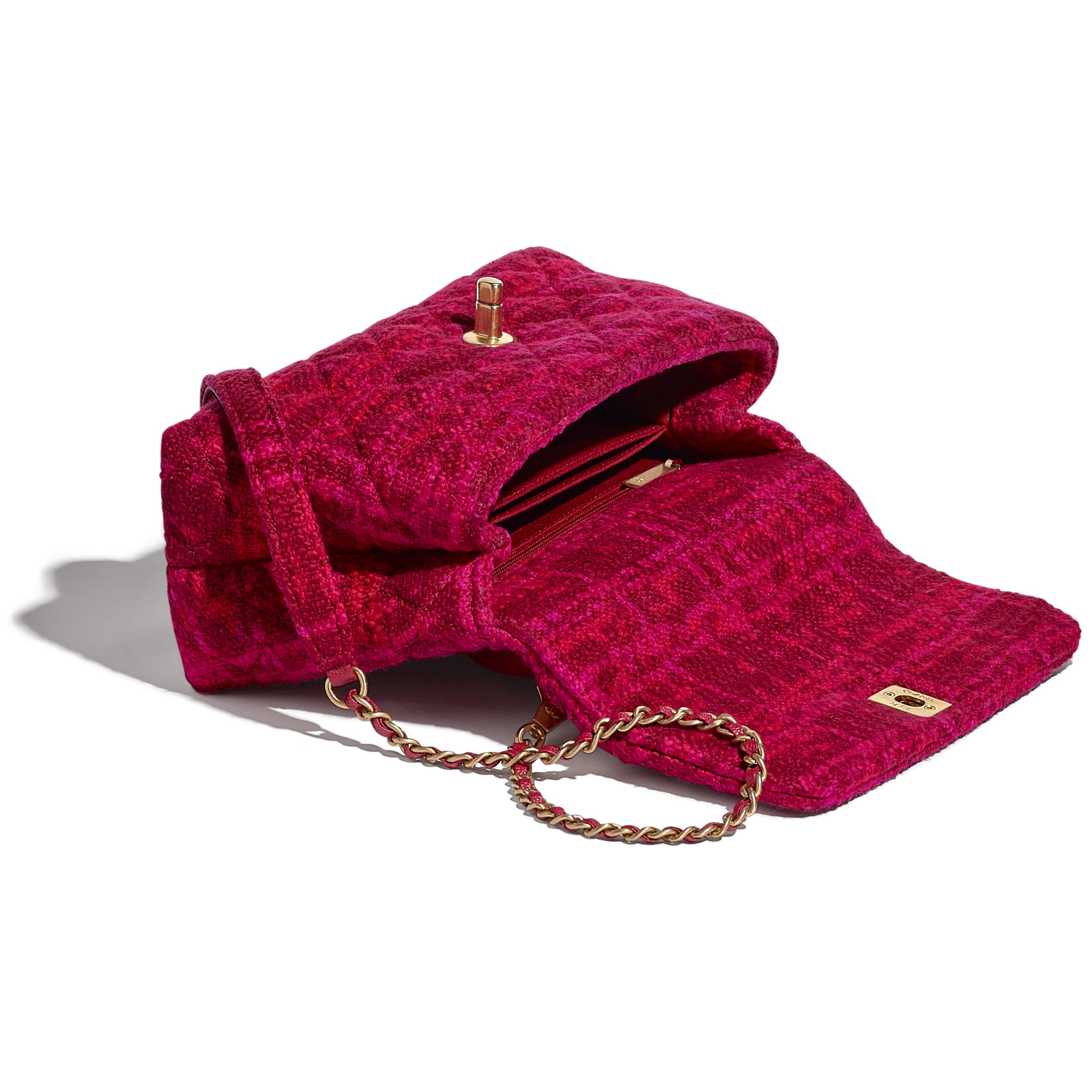 Small Flap Bag with Top Handle - Fuchsia & Red - Cotton Tweed, Grained Calfskin & Gold-Tone Metal - CHANEL - Other view - see standard sized version