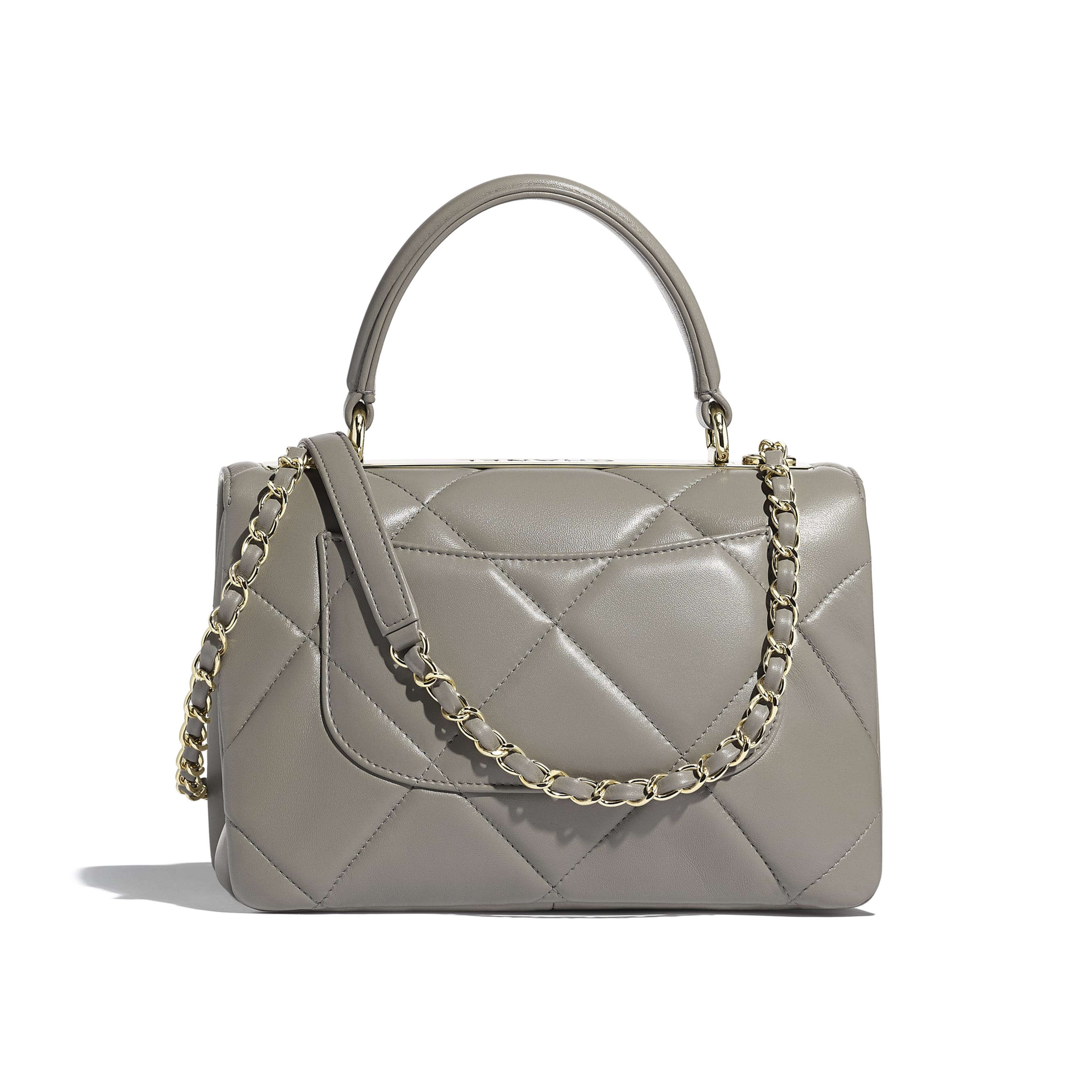 Small Flap Bag with Top Handle - Gray - Lambskin & Gold-Tone Metal - Alternative view - see standard sized version