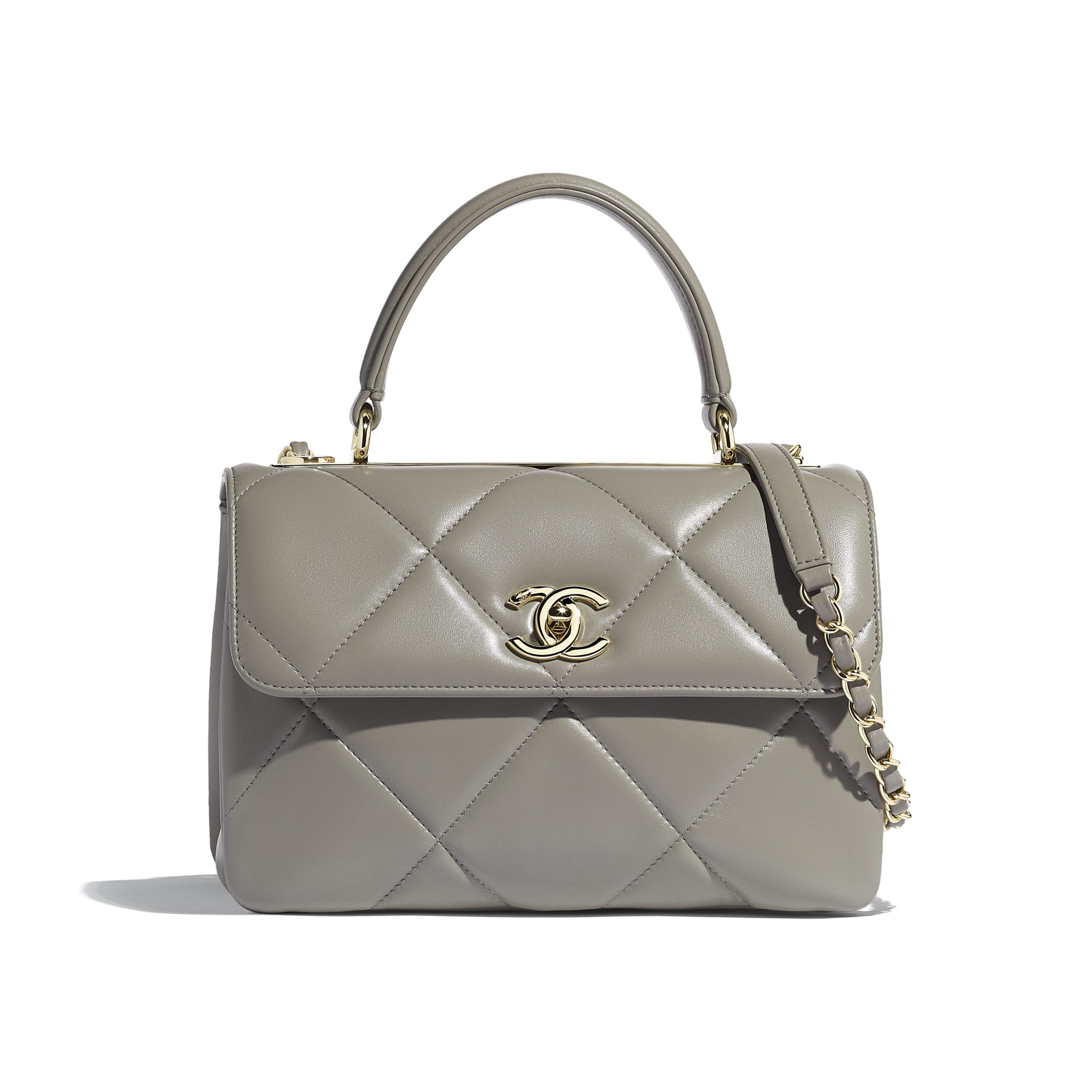 Small Flap Bag with Top Handle - Gray - Lambskin & Gold-Tone Metal - Default view - see standard sized version