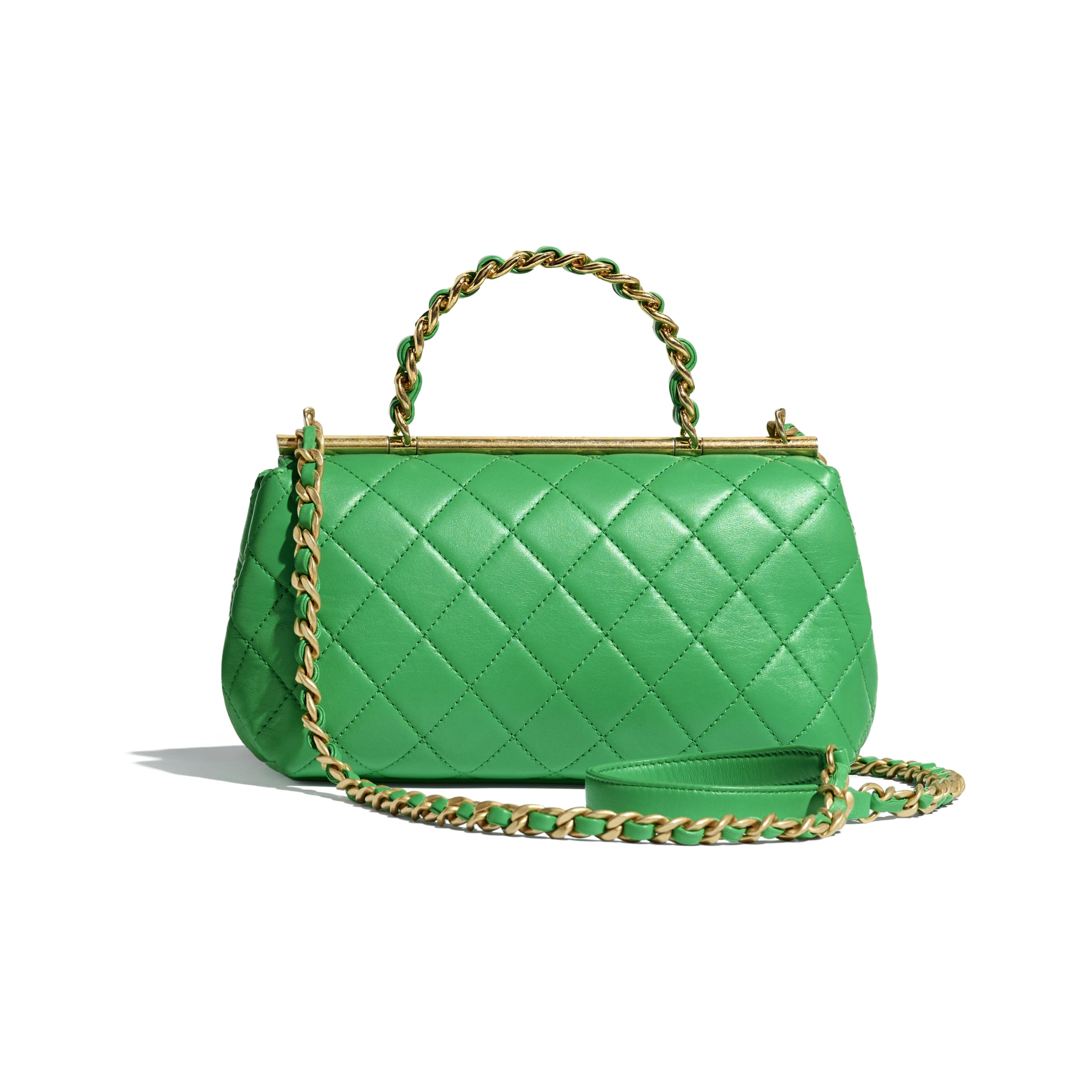 Small Flap Bag With Top Handle - Green - Lambskin - Alternative view - see standard sized version