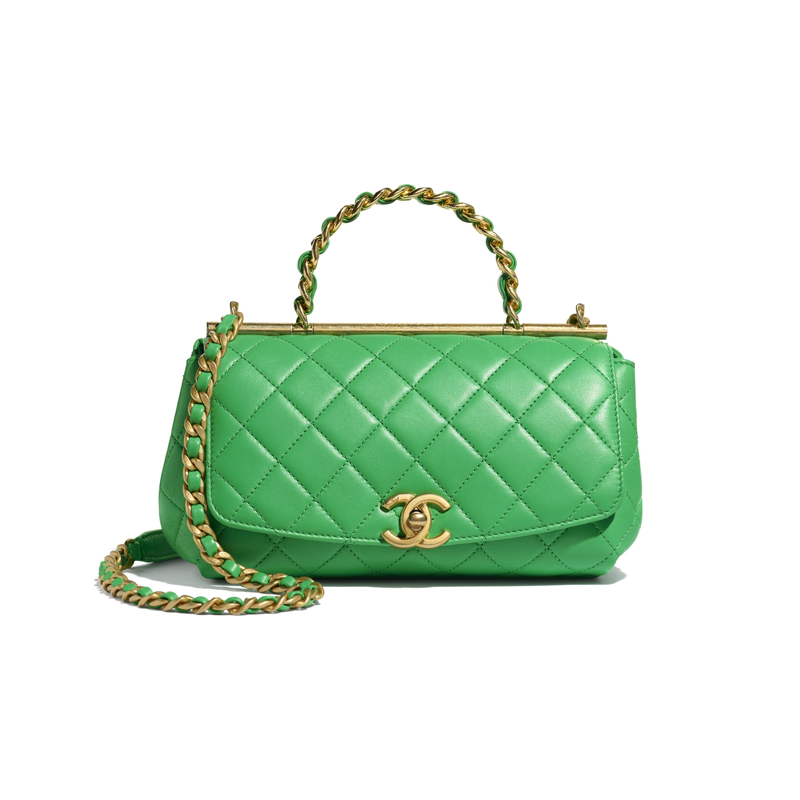 Small Flap Bag With Top Handle - Green - Lambskin - Default view - see standard sized version