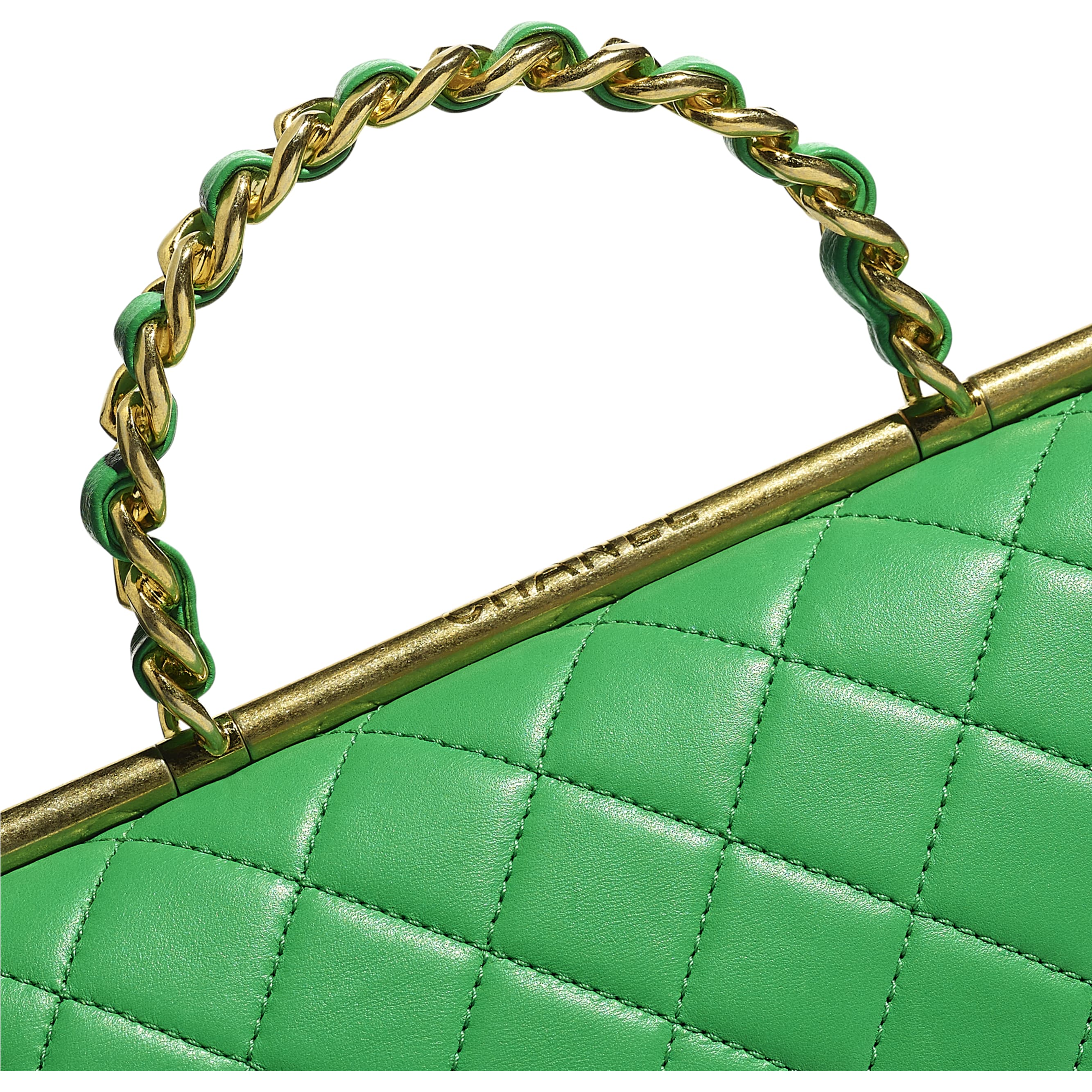 Small Flap Bag With Top Handle - Green - Lambskin - Extra view - see standard sized version