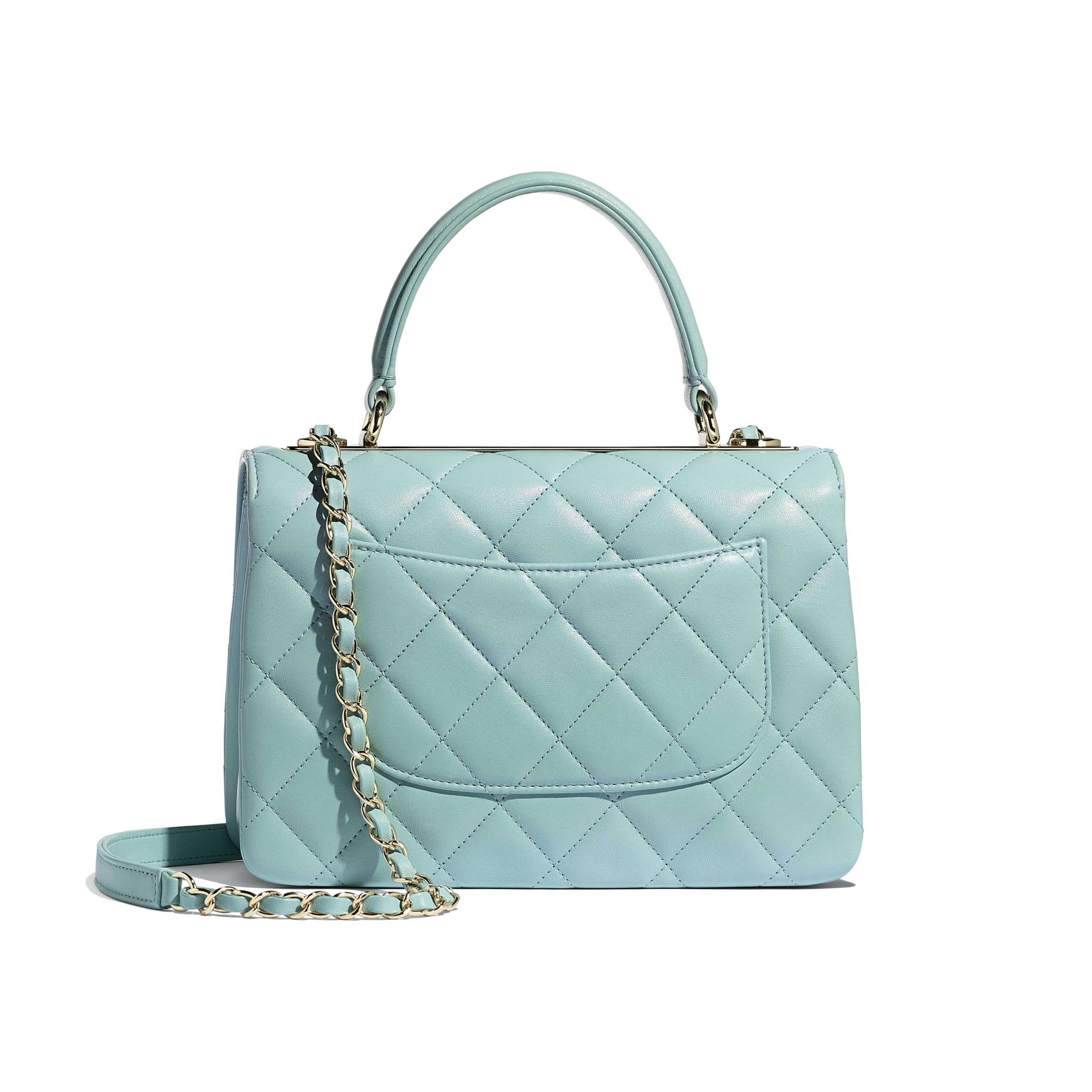 Small Flap Bag With Top Handle - Light Blue - Lambskin - CHANEL - Alternative view - see standard sized version